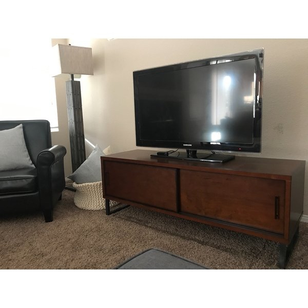 Shop Carbon Loft 54 Inch Breckenridge Walnut Entertainment Center With Trendy Rowan 74 Inch Tv Stands (Image 16 of 25)