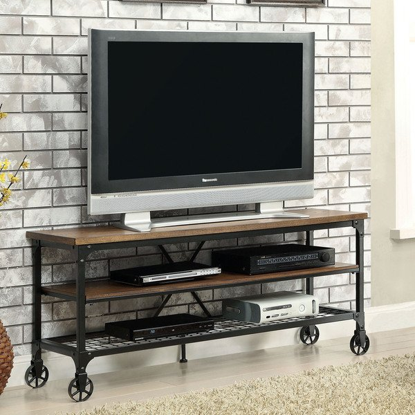 Shop Carbon Loft Akroyd Industrial Medium Oak Tv Stand – On Sale Intended For Favorite Canyon 64 Inch Tv Stands (Image 15 of 25)
