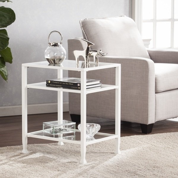 Shop Carbon Loft Glenn White Metal/ Glass End Table – On Sale – Free With Regard To Favorite Dixon Black 65 Inch Highboy Tv Stands (View 18 of 25)