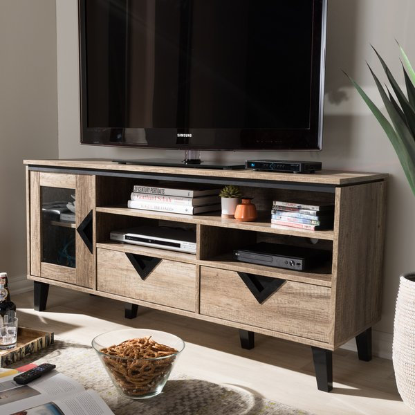 Shop Carson Carrington Faaborg Contemporary Light Brown Wood 2 Intended For Most Recent Canyon 64 Inch Tv Stands (Image 16 of 25)