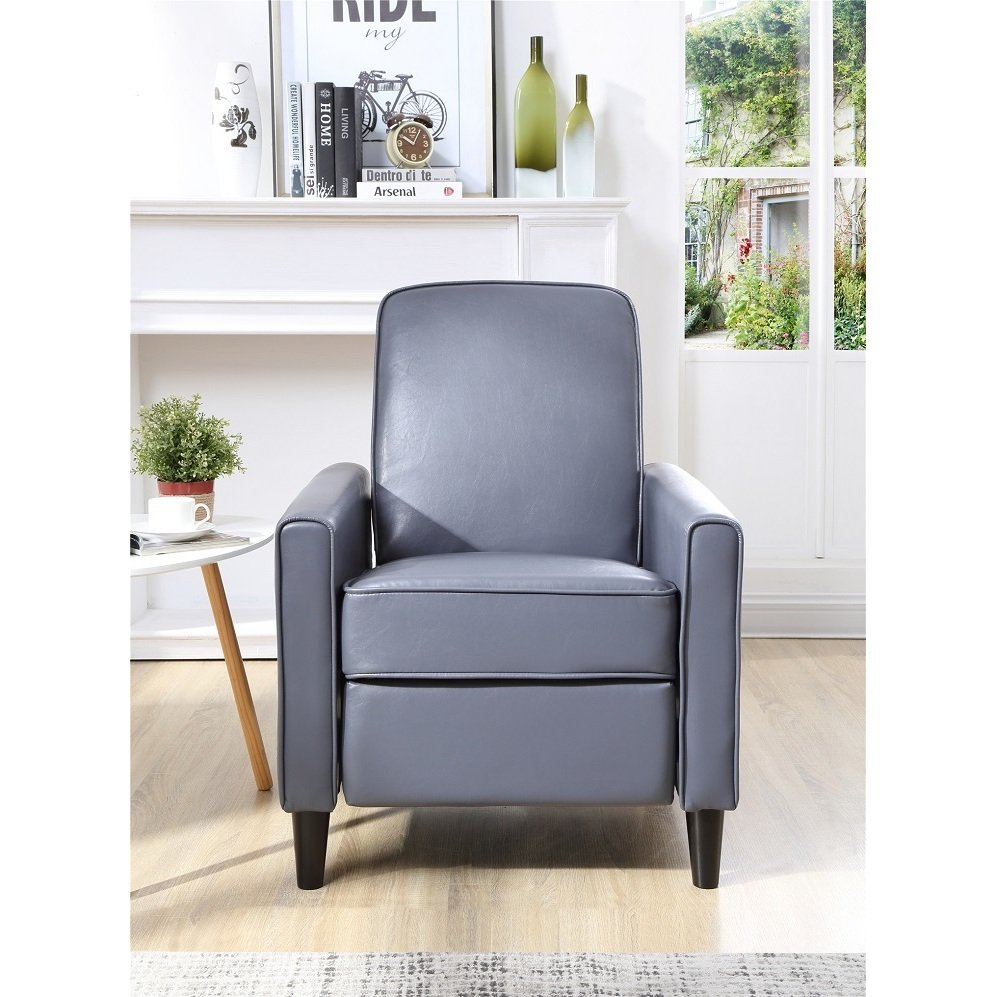 Shop Carson Carrington Knaben Grey Faux Leather Push Back Recliner Intended For Katrina Grey Swivel Glider Chairs (View 16 of 25)