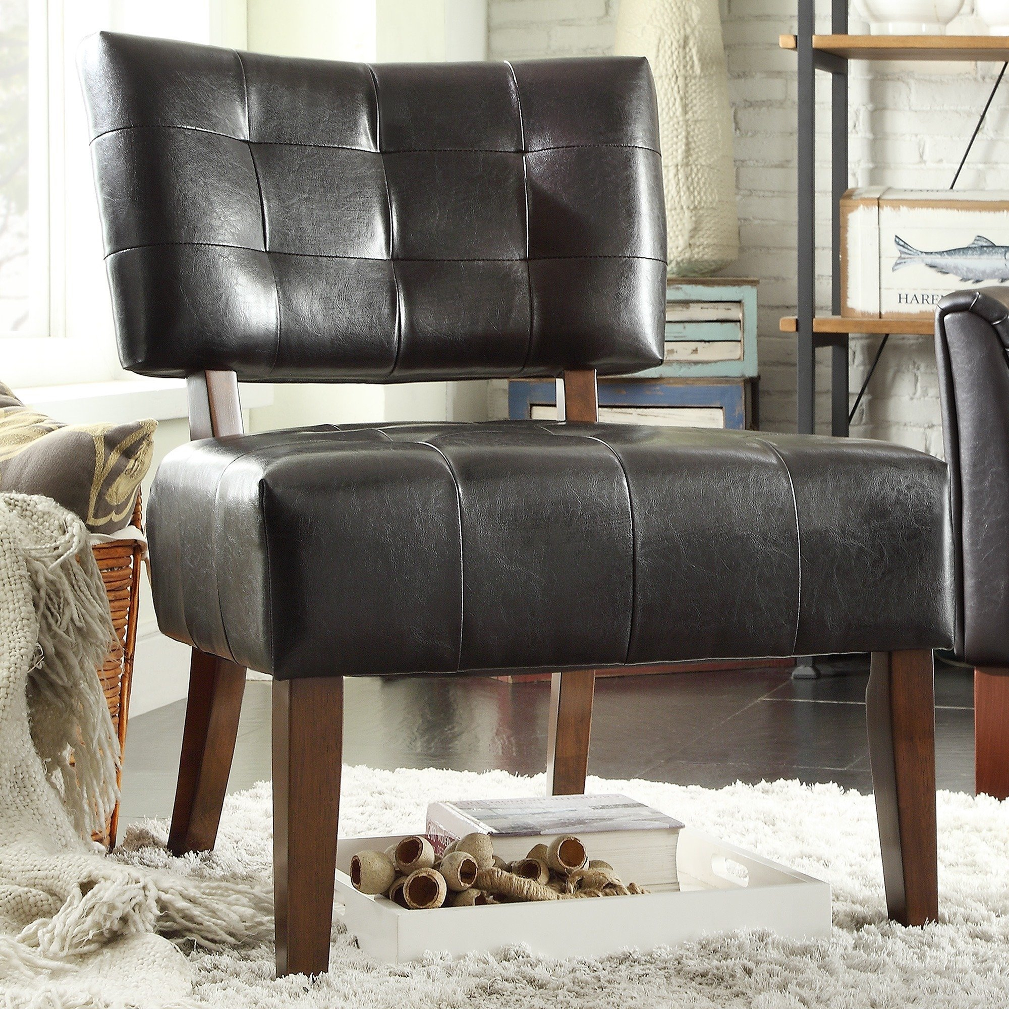 Shop Charlotte Faux Leather Armless Accent Chairinspire Q With Regard To Sheldon Oversized Sofa Chairs (View 22 of 25)
