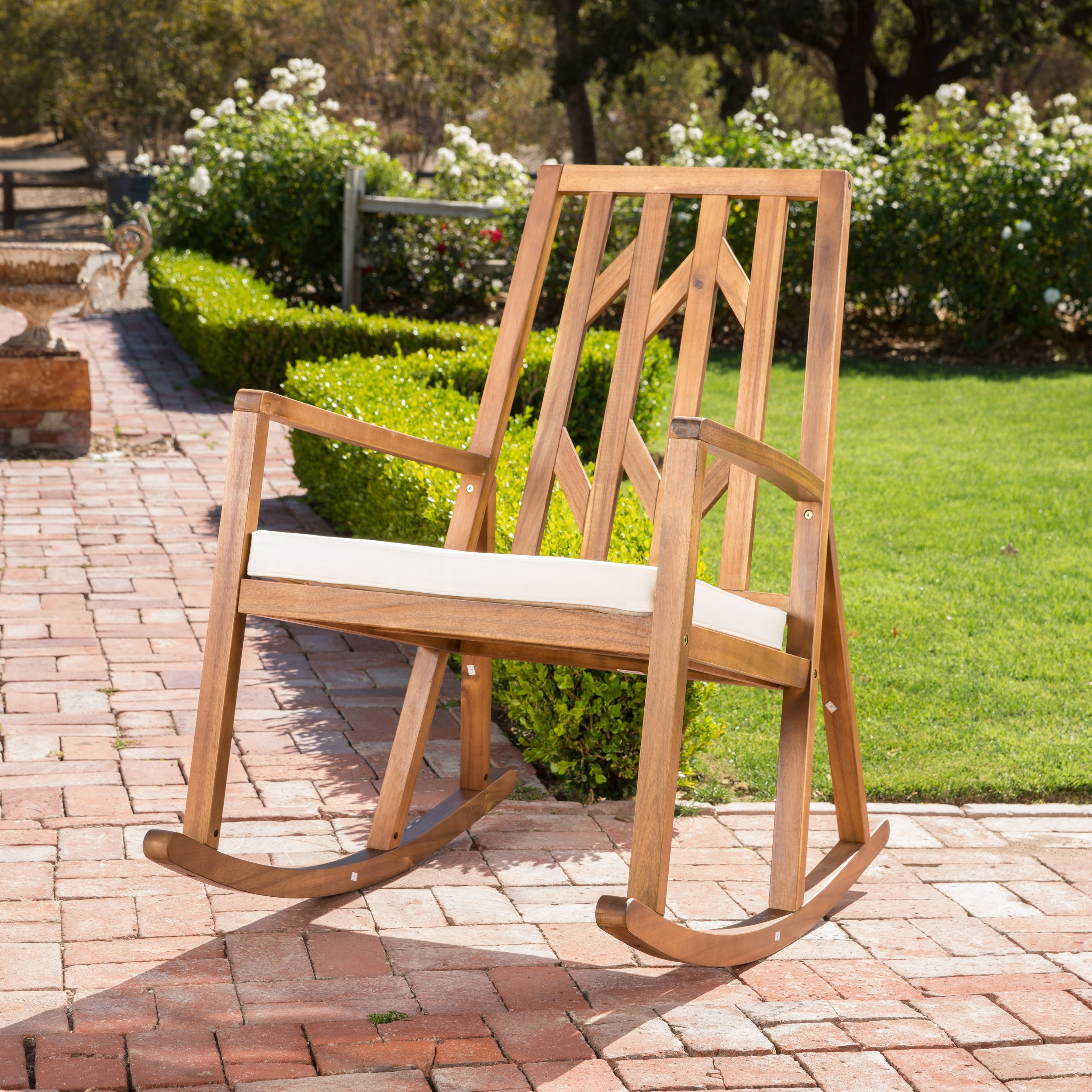 Shop Christopher Knight Home Nuna Outdoor Wood Rocking Chair W Pertaining To Katrina Blue Swivel Glider Chairs (Image 21 of 25)
