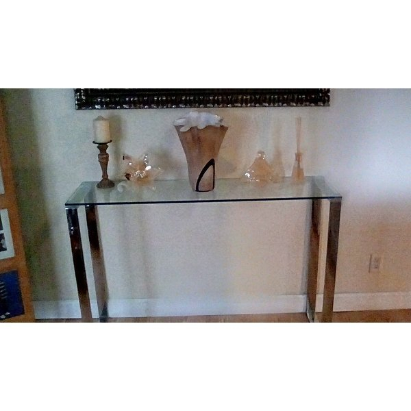 Shop Cortesi Home Remi Contemporary Chrome Finish Glass Console Throughout Current Remi Console Tables (Image 19 of 25)