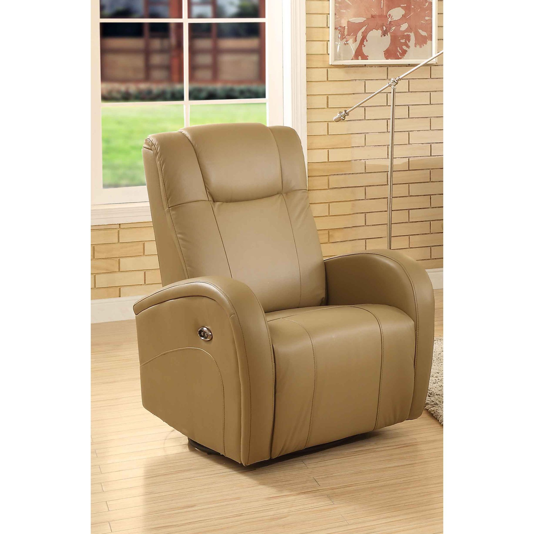 Shop Easy Living Swiss Leather Swivel Power Glider Recliner With Usb Regarding Gannon Linen Power Swivel Recliners (View 10 of 25)