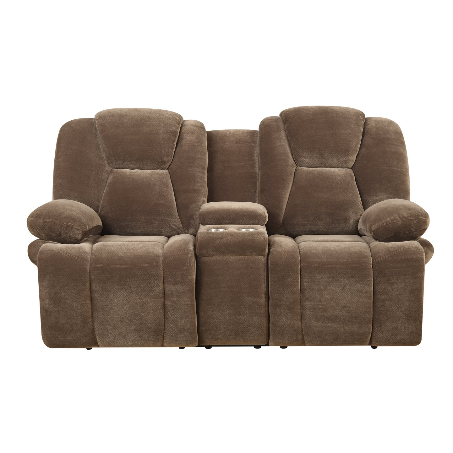 Shop Emerald Caressa Brown Dual Reclining Loveseat With Console Inside Caressa Leather Dark Grey Sofa Chairs (Image 25 of 25)