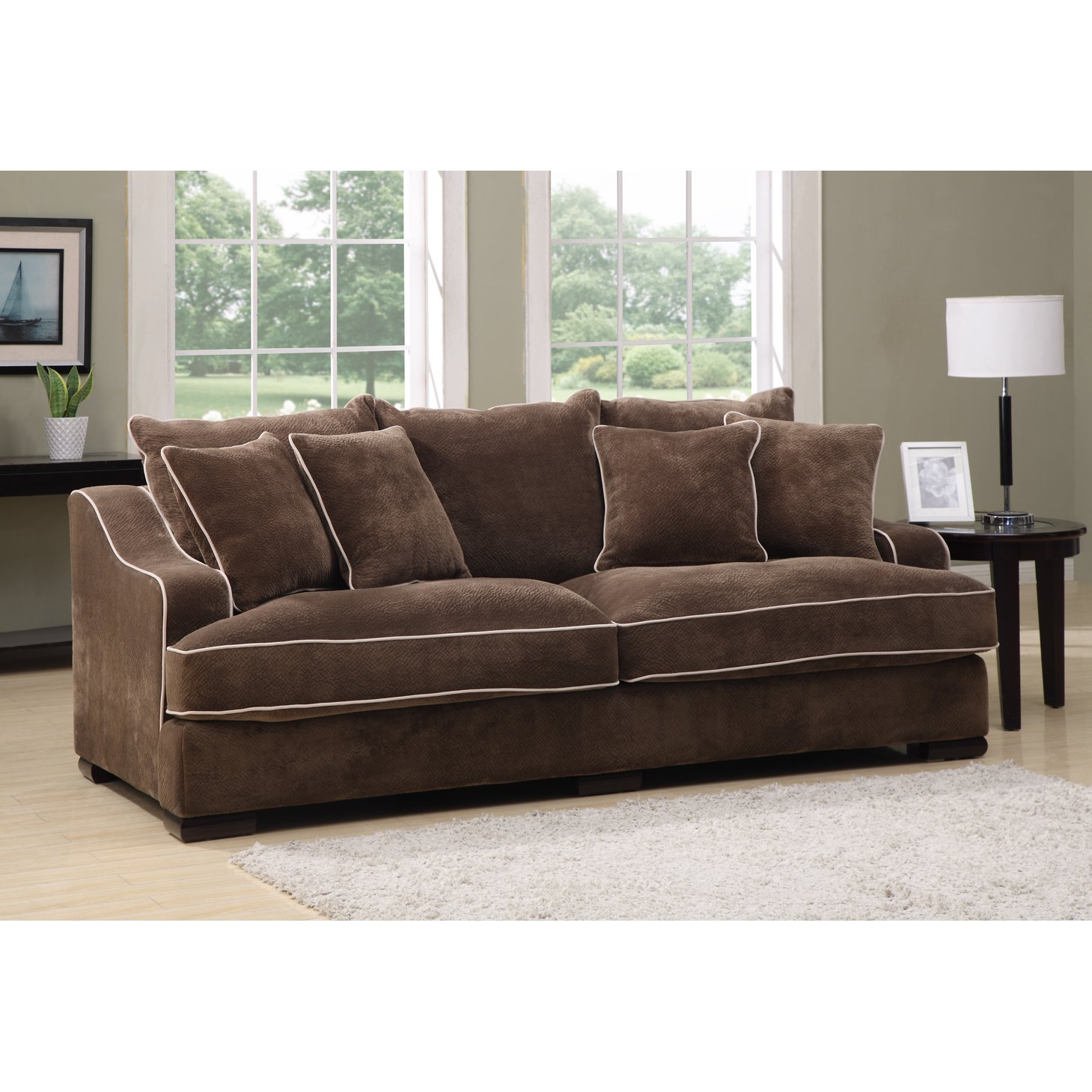 Shop Emerald Caresse Mocha Down Filled Sofa – Free Shipping Today Pertaining To Caressa Leather Dove Grey Sofa Chairs (Image 20 of 25)