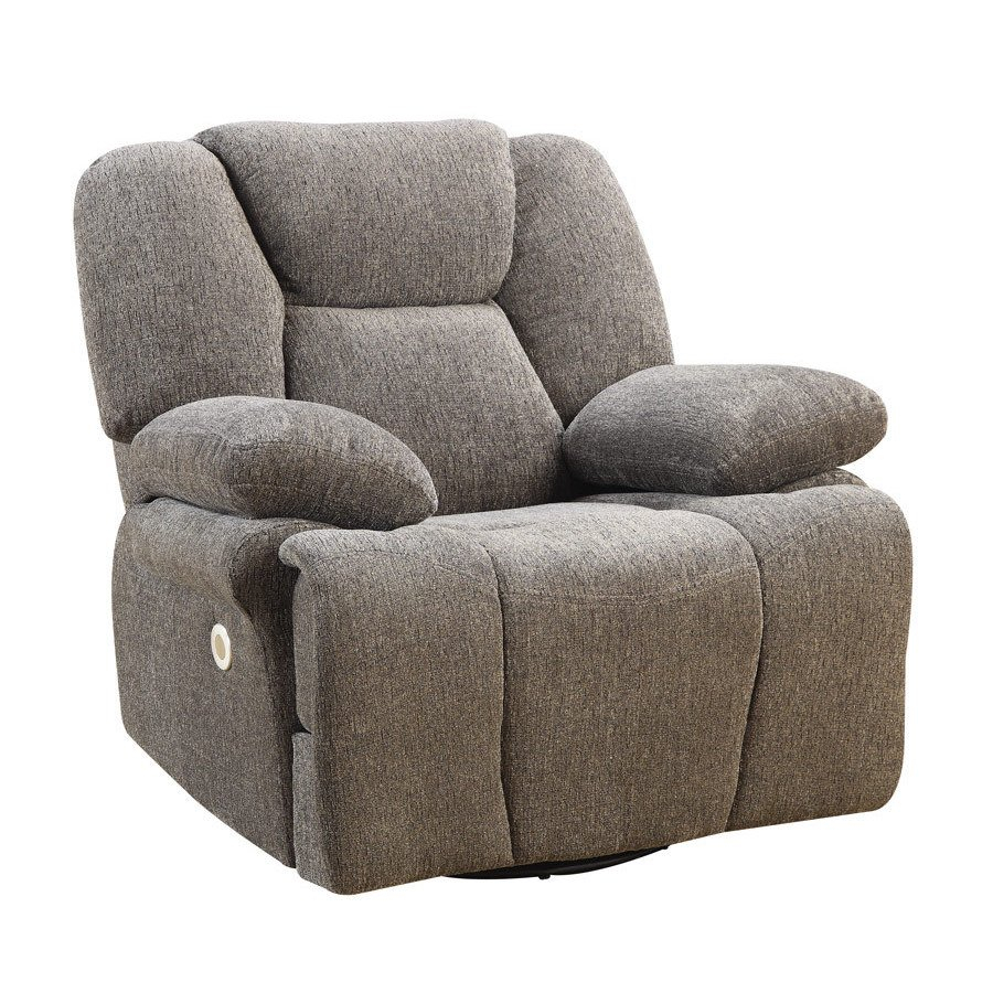Shop Emerald Home Caressa Grey Power Swivel Glider Recliner – Free Throughout Caressa Leather Dove Grey Sofa Chairs (Image 21 of 25)