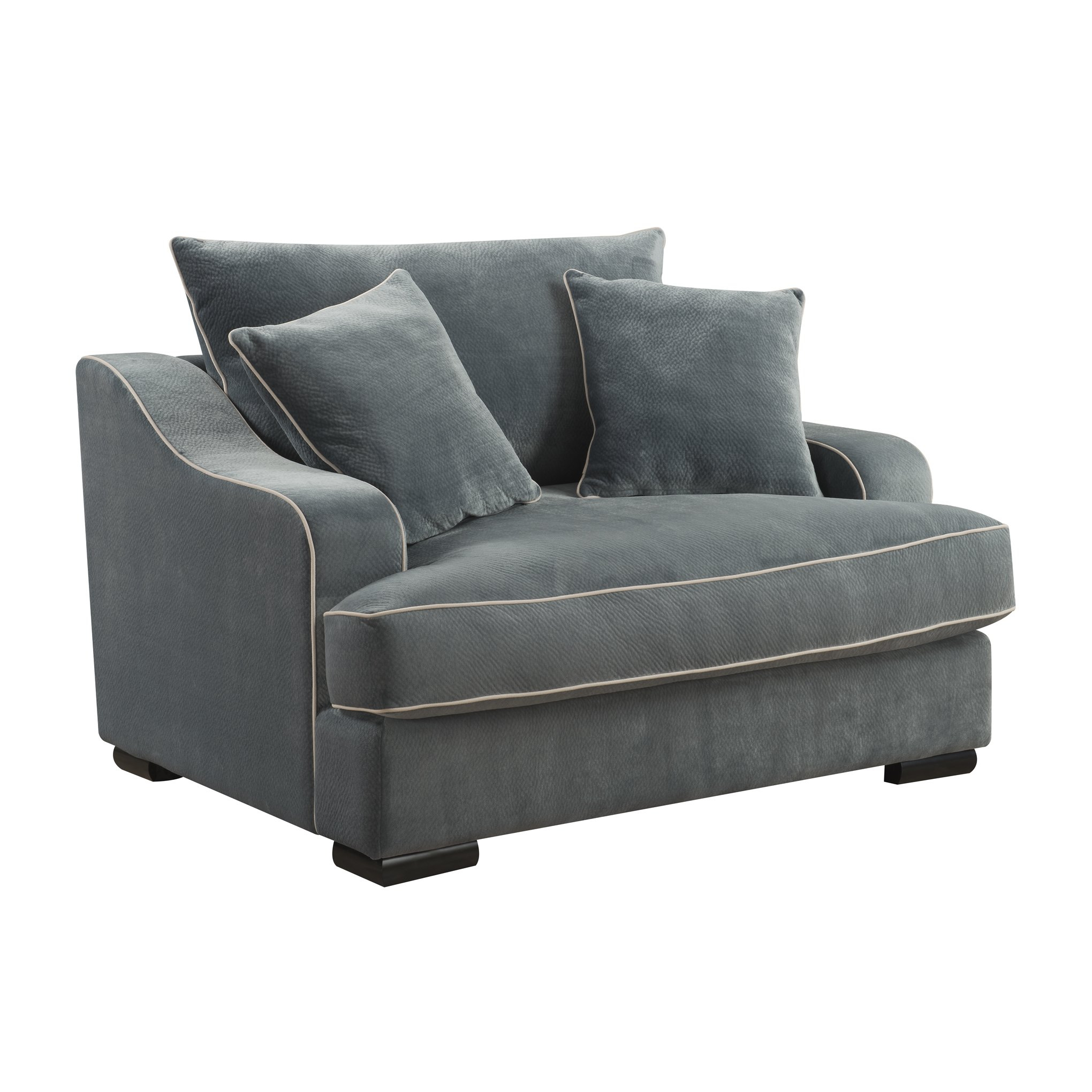 Shop Emerald Home Caresse Marine Blue Plush Oversized Chair – Free With Regard To Caressa Leather Dove Grey Sofa Chairs (Image 22 of 25)