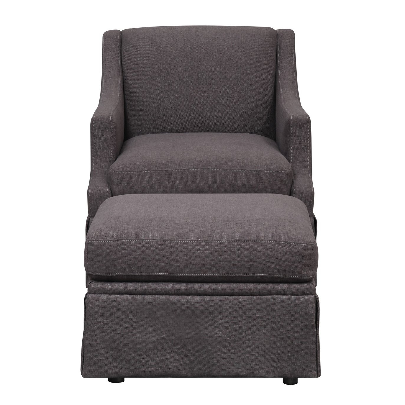 Shop Emerald Home Mckinley Charcoal Swivel Slip Chair And Ottoman Throughout Charcoal Swivel Chairs (View 19 of 25)