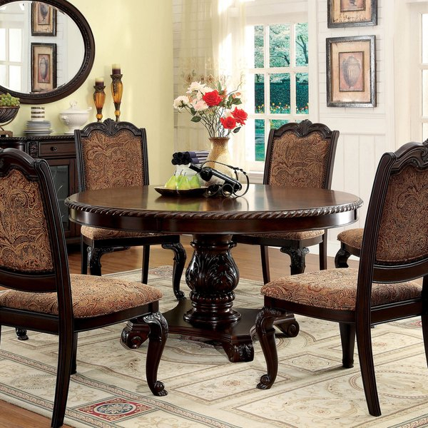 Shop Furniture Of America Oskarre Brown Cherry Round Dining Table With Famous Oscar 60 Inch Console Tables (Image 22 of 25)