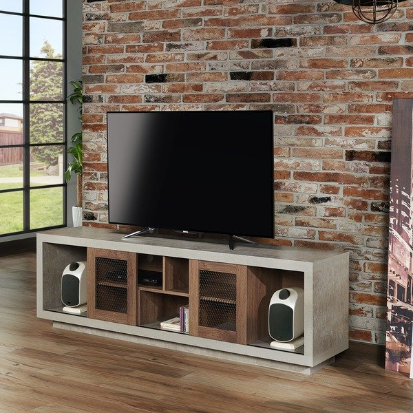 Shop Furniture Of America Selefin Industrial Cement Like Multi Regarding Widely Used Casey Grey 54 Inch Tv Stands (Image 18 of 25)