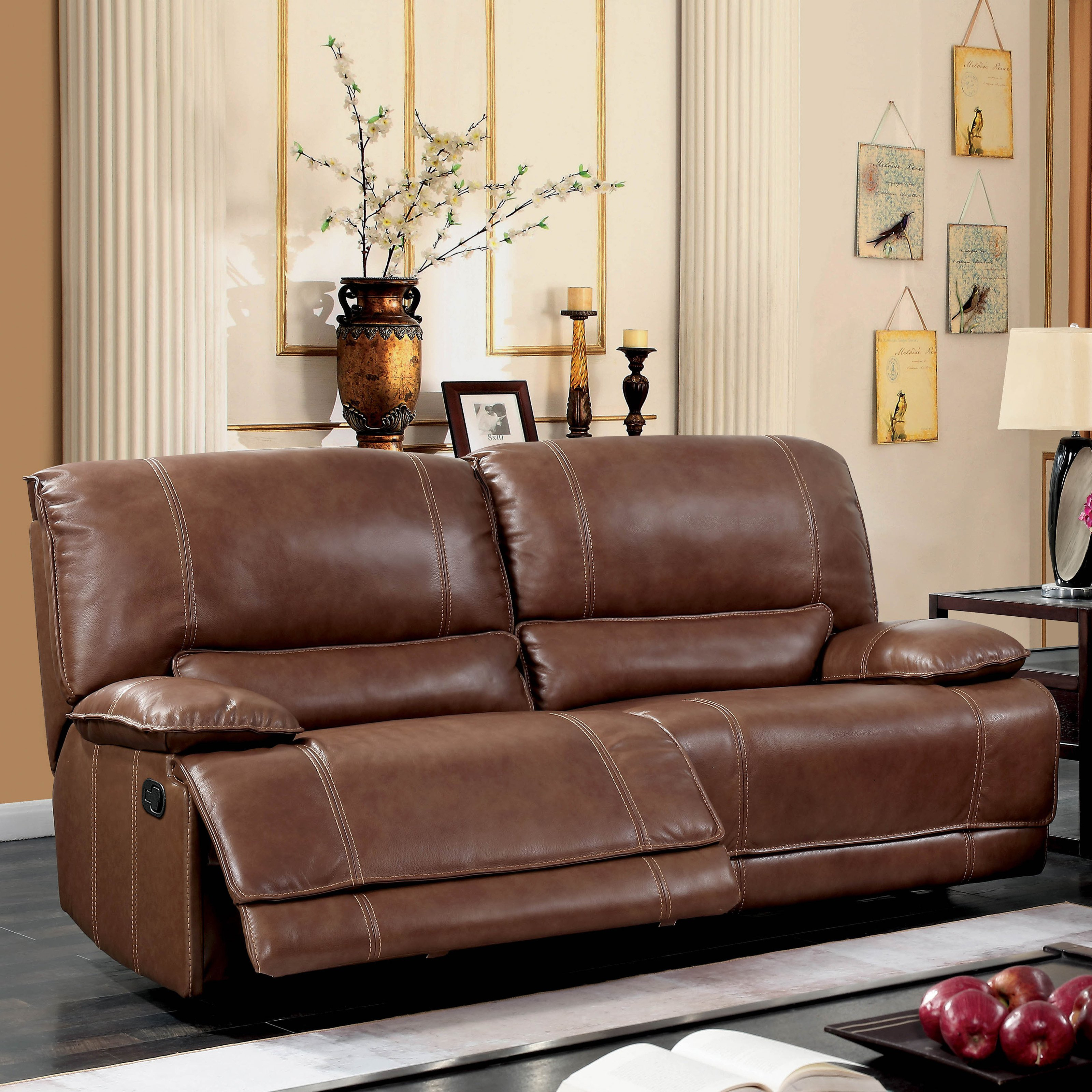 Shop Furniture Of America Sierra Brown Leather Match Reclining Sofa Within Sierra Foam Ii Oversized Sofa Chairs (View 13 of 25)