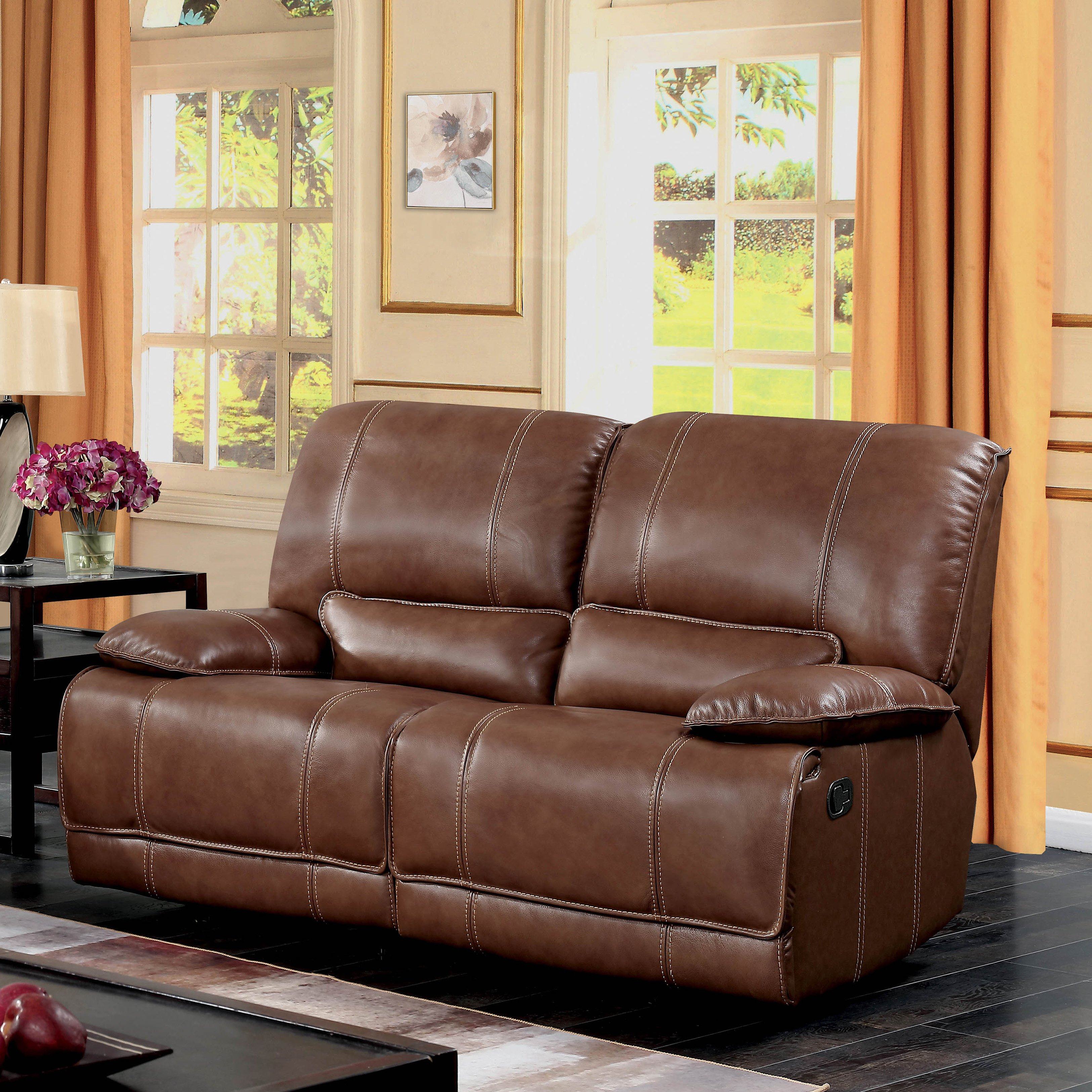 Shop Furniture Of America Sierra Brown Leather Match Reclining With Sierra Foam Ii Oversized Sofa Chairs (Image 14 of 25)