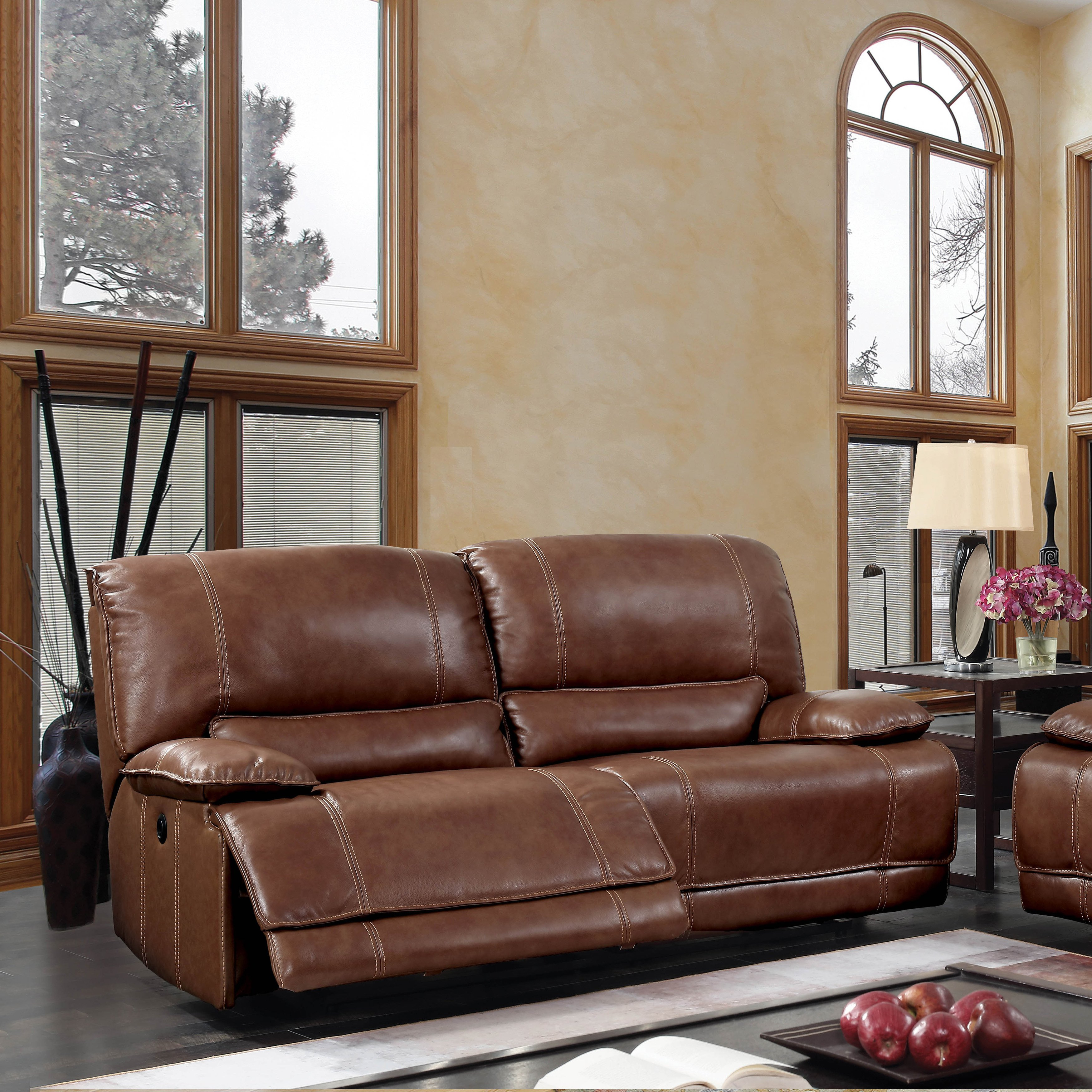 Shop Furniture Of America Sierra Brown Leather Usb Power Assist Sofa With Sierra Foam Ii Oversized Sofa Chairs (Image 15 of 25)