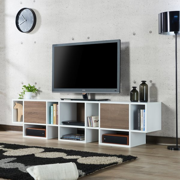 Shop Furniture Of America Veruca Contemporary Two Tone White With Regard To Most Recently Released Noah Rustic White 66 Inch Tv Stands (View 3 of 11)