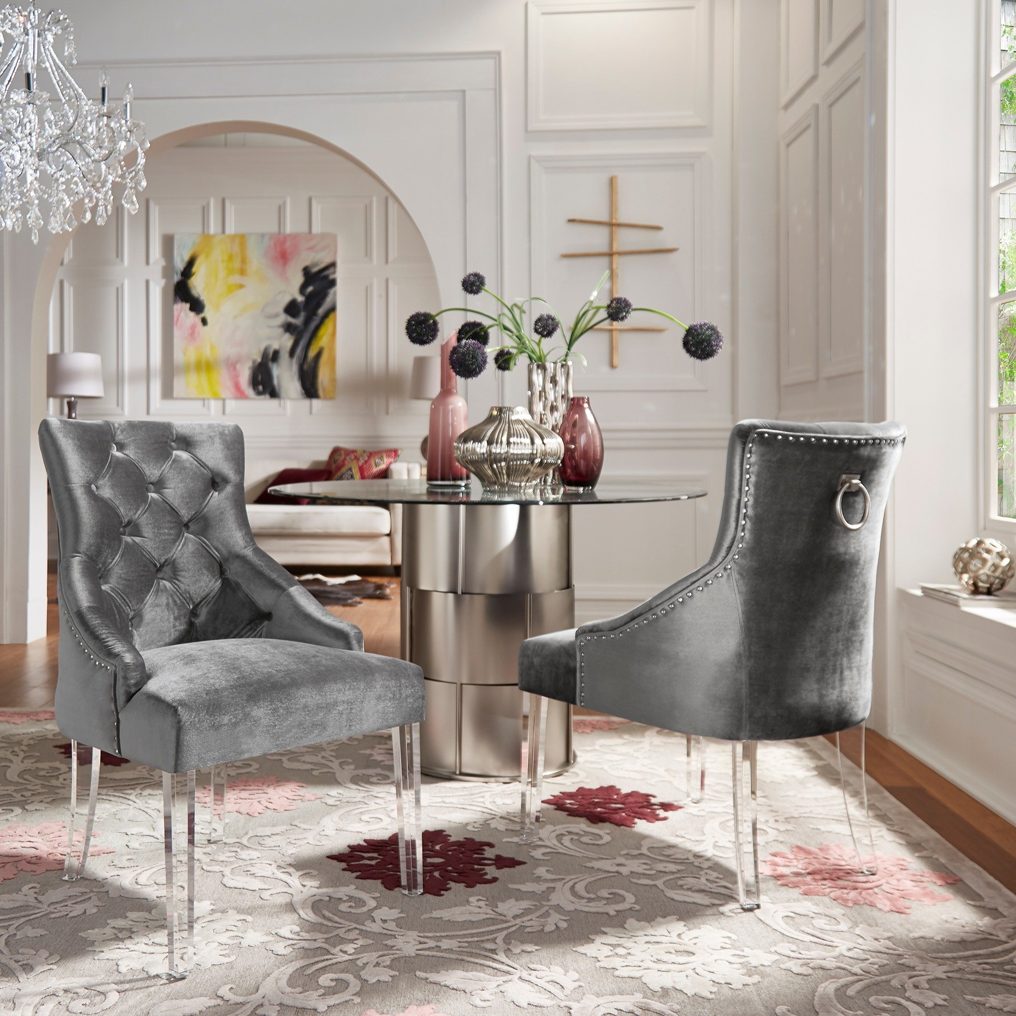 Shop Gina Velvet Tufted Dining Chair (Set Of 2) With Acrylic Legs In Gina Blue Leather Sofa Chairs (Image 20 of 25)