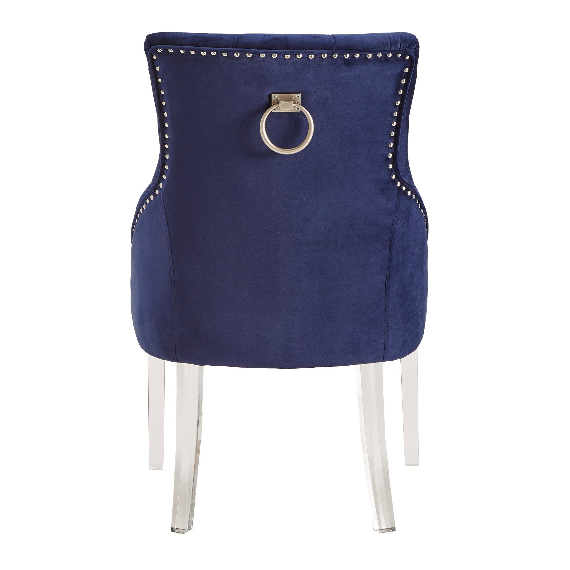 Shop Gina Velvet Tufted Dining Chair (Set Of 2) With Acrylic Legs Inside Gina Blue Leather Sofa Chairs (View 21 of 25)