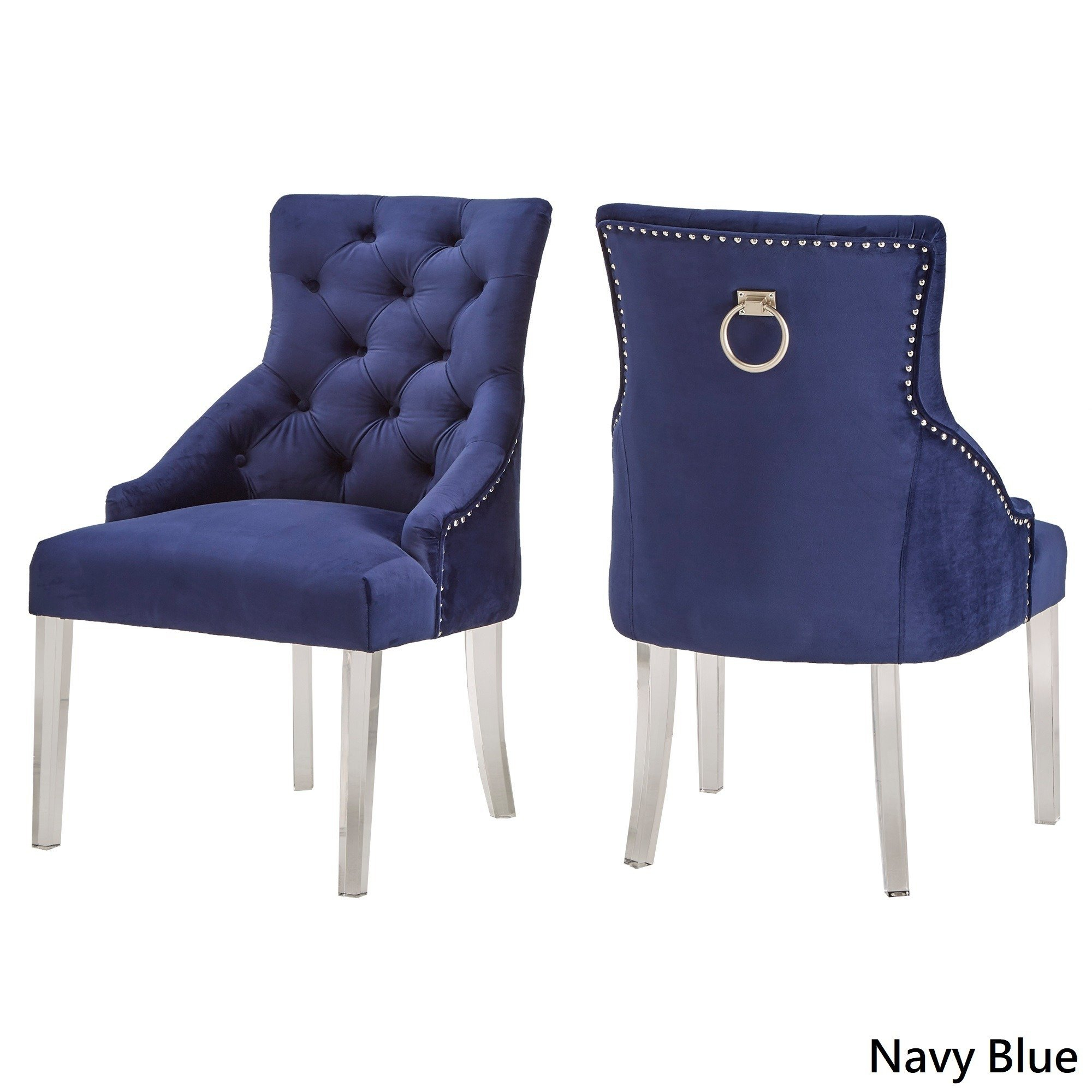 Shop Gina Velvet Tufted Dining Chair (Set Of 2) With Acrylic Legs Intended For Gina Blue Leather Sofa Chairs (Image 22 of 25)