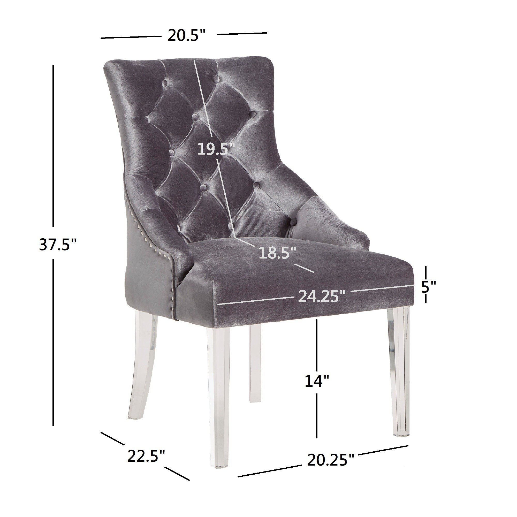 Shop Gina Velvet Tufted Dining Chair (Set Of 2) With Acrylic Legs Throughout Gina Grey Leather Sofa Chairs (Image 22 of 25)