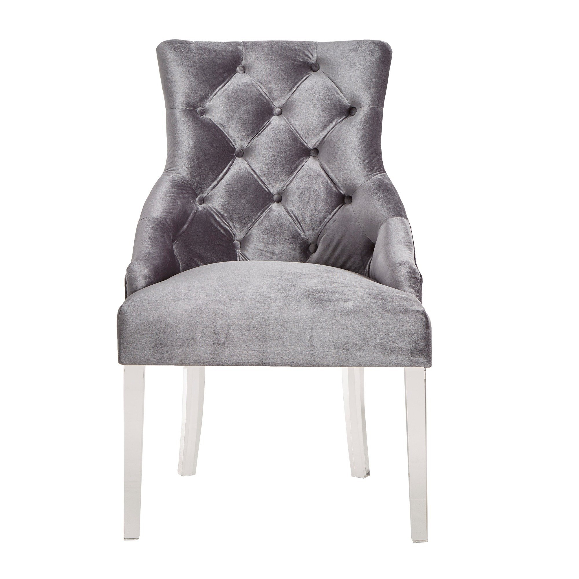 Shop Gina Velvet Tufted Dining Chair (Set Of 2) With Acrylic Legs Throughout Gina Grey Leather Sofa Chairs (Image 21 of 25)