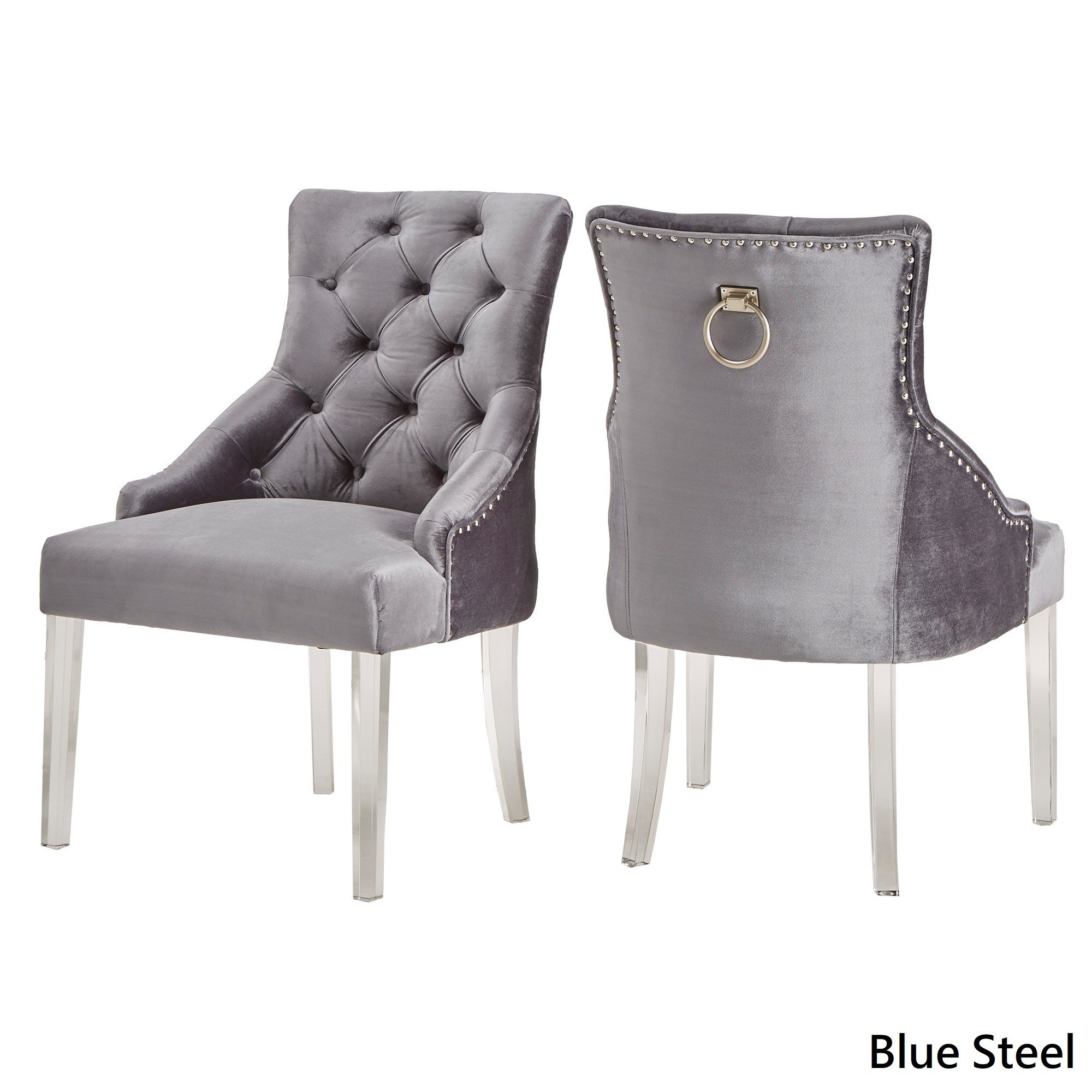 Shop Gina Velvet Tufted Dining Chair (Set Of 2) With Acrylic Legs Within Gina Blue Leather Sofa Chairs (Image 24 of 25)