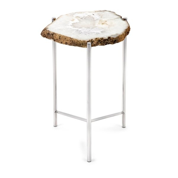 Shop Giselle Chrome Agate Table – On Sale – Free Shipping Today Intended For Most Recent Mix Agate Metal Frame Console Tables (Image 21 of 25)