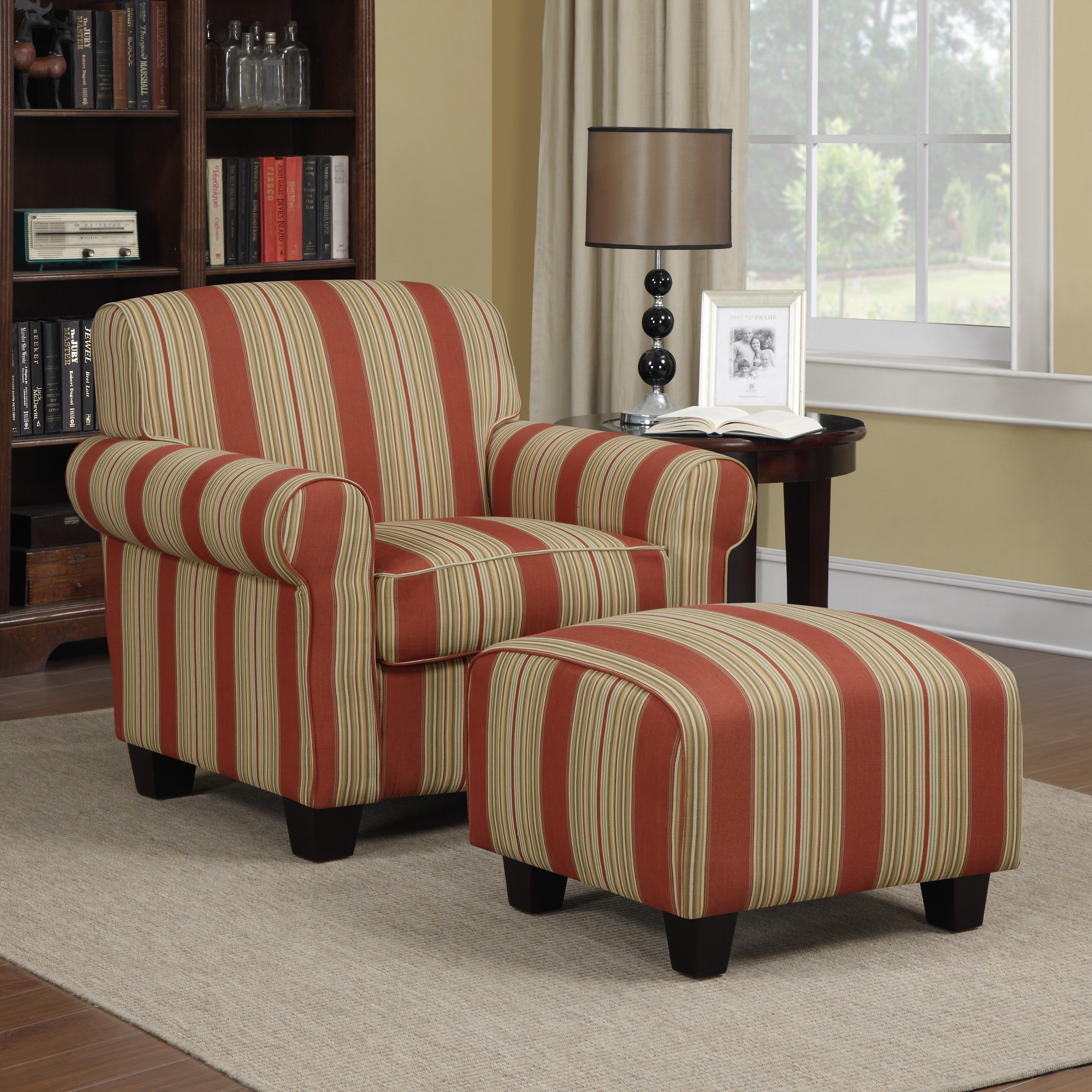 Shop Handy Living Mira Red Stripe Arm Chair And Ottoman – Free Within Patterson Ii Arm Sofa Chairs (Image 17 of 25)