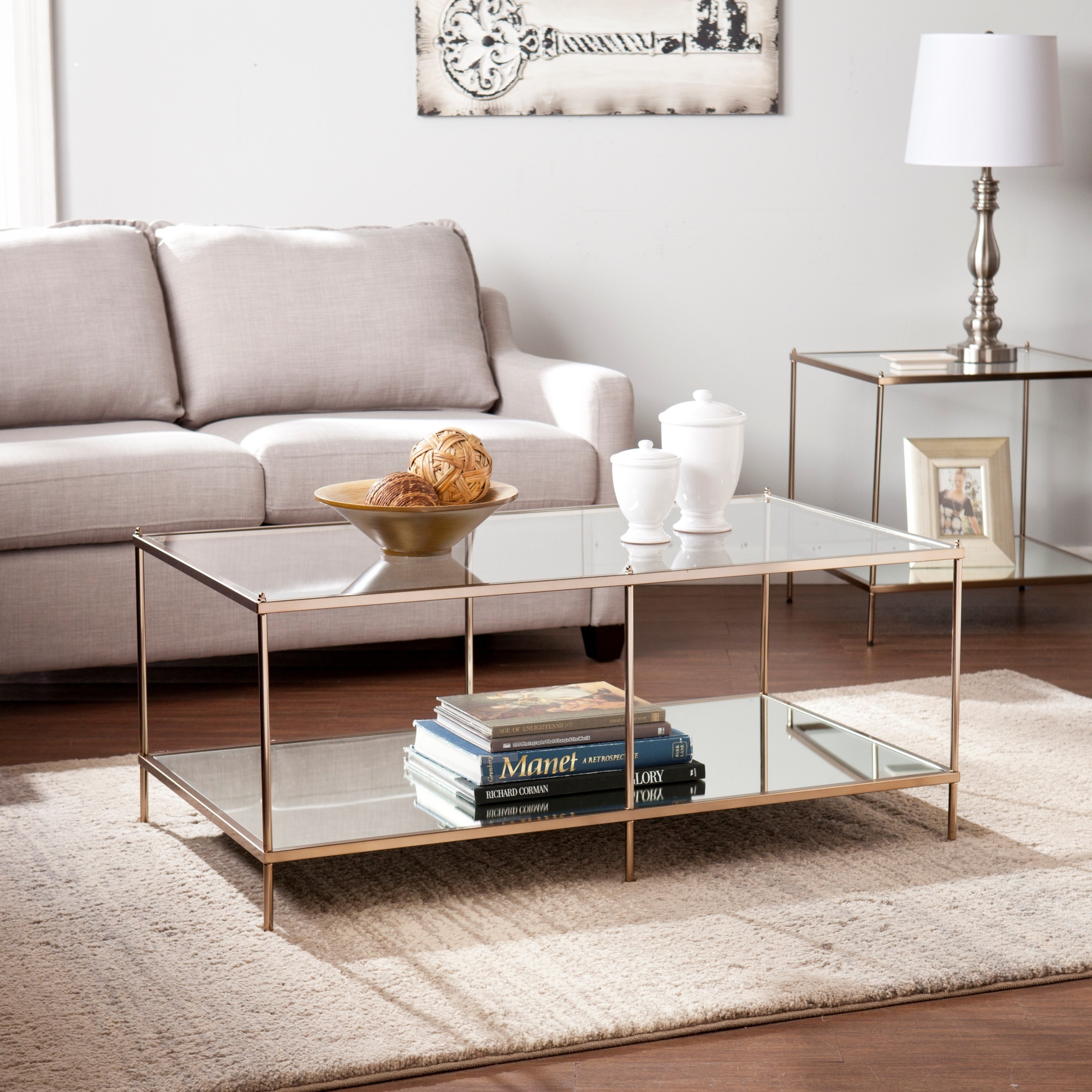 Shop Harper Blvd Kendall Goldtone Glass Top Coffee Table – Free In Harper Down Oversized Sofa Chairs (View 17 of 25)