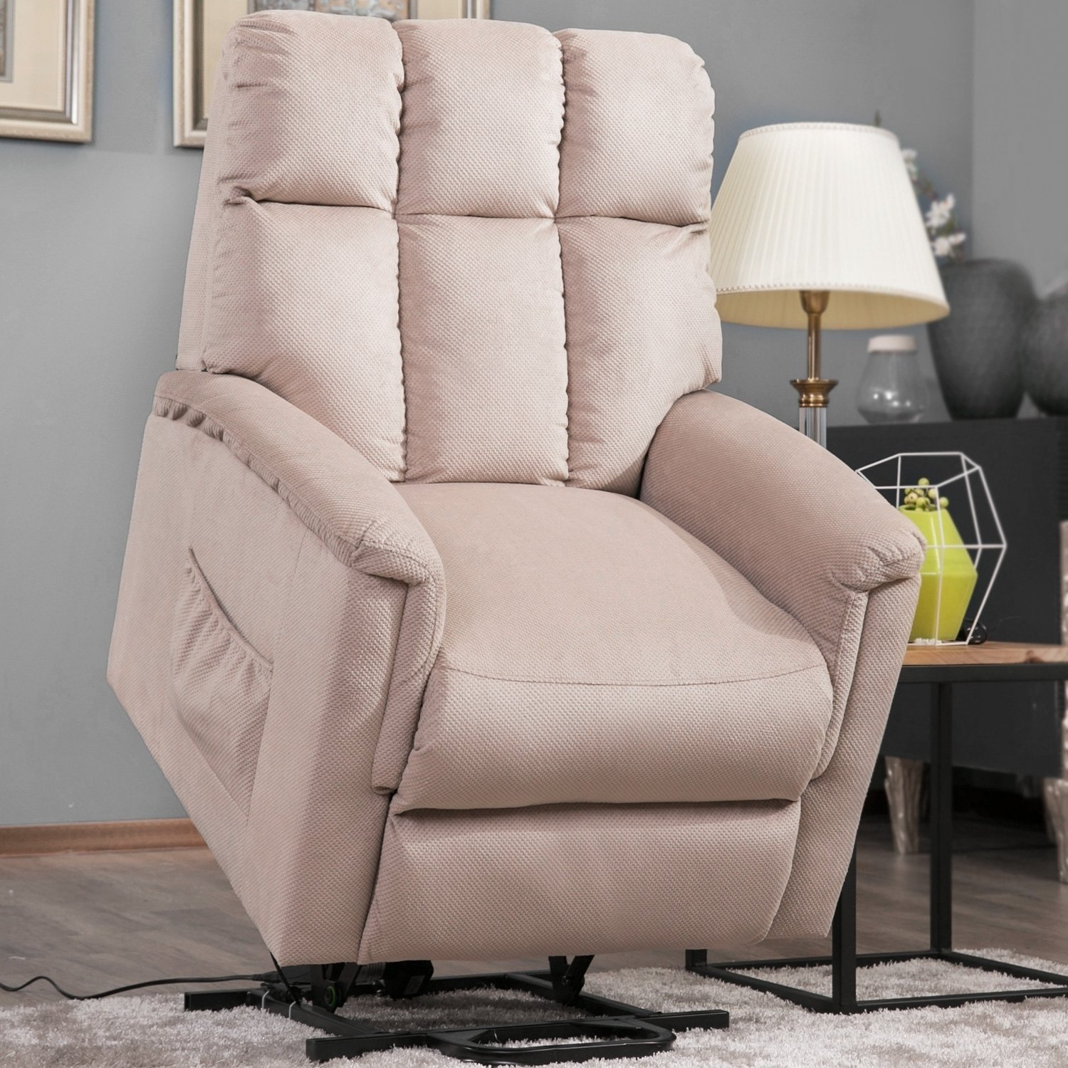 Shop Harper & Bright Designs Power Lift Chair Soft Fabric Recliner For Harper Down Oversized Sofa Chairs (View 11 of 25)
