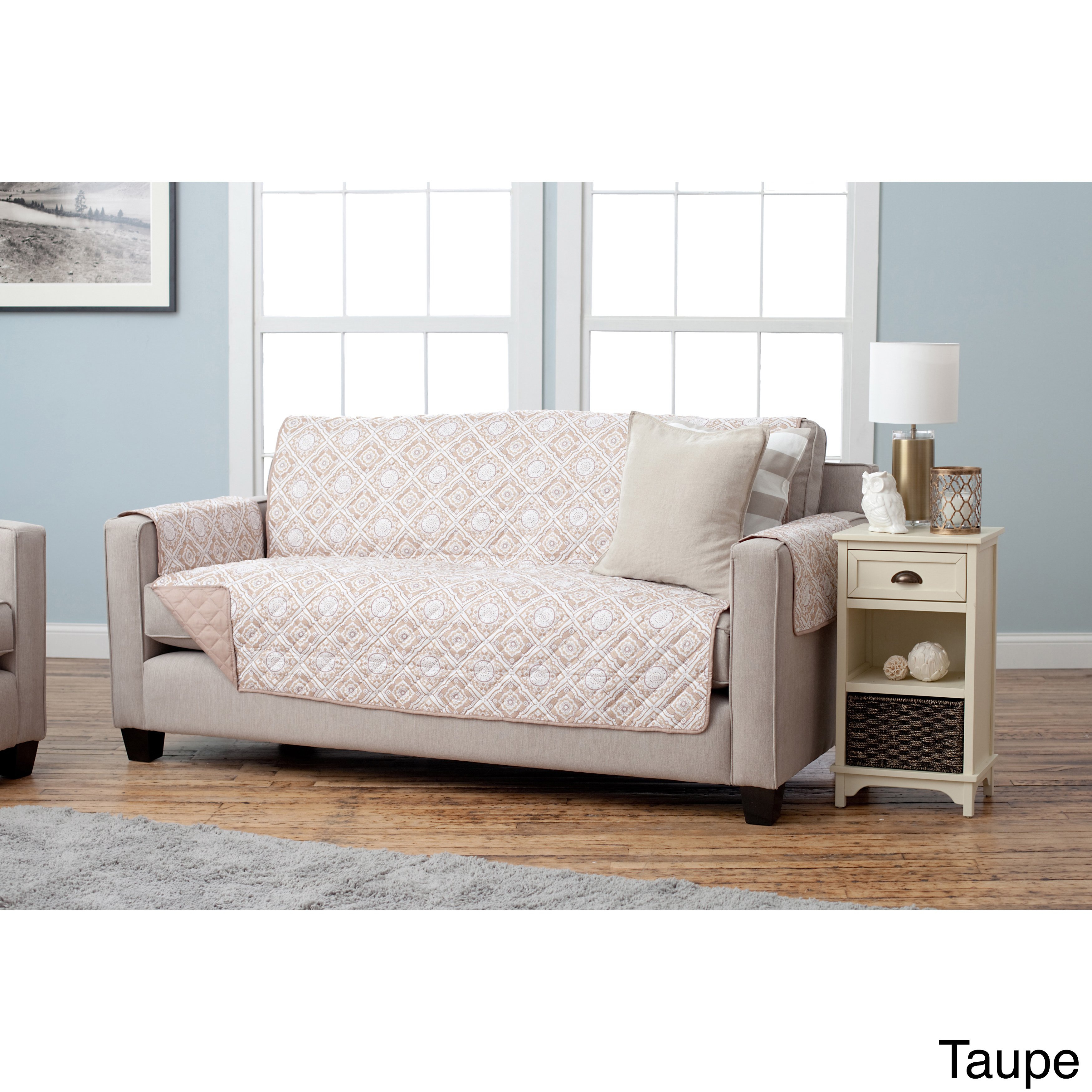 Shop Home Fashion Designs Adalyn Collection Printed Reversible Sofa With Regard To Caressa Leather Dove Grey Sofa Chairs (Image 23 of 25)