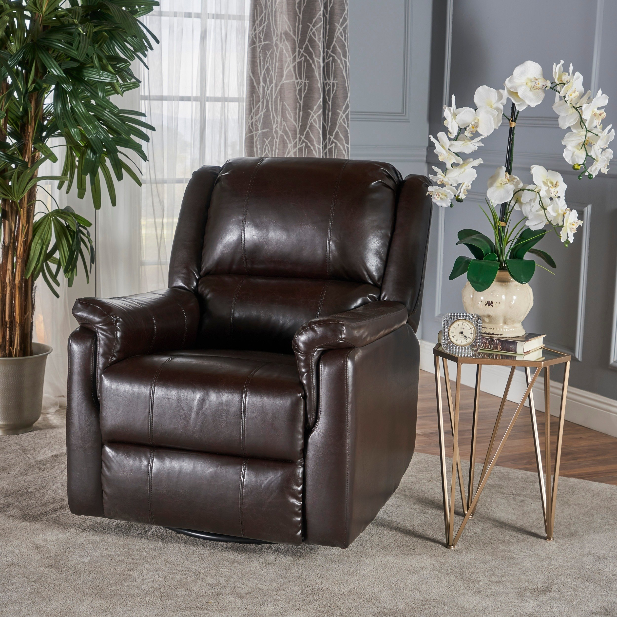 Shop Jennette Faux Leather Swivel Gliding Reclinerchristopher Pertaining To Franco Iii Fabric Swivel Rocker Recliners (View 9 of 25)