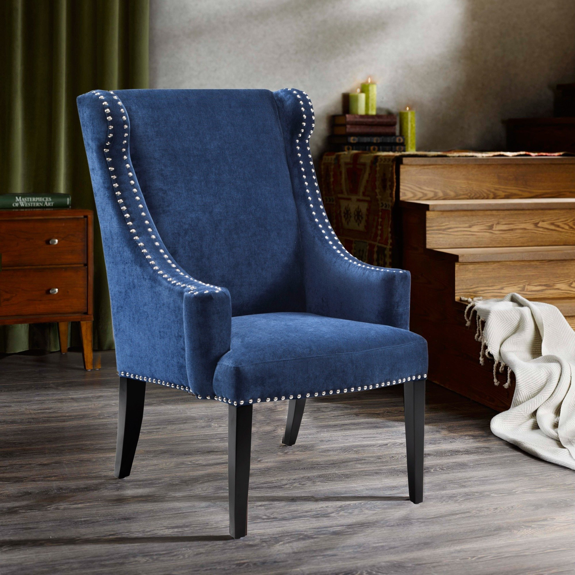 Shop Madison Park Lucy Blue High Back Wing Chair – Free Shipping With Regard To Lucy Grey Sofa Chairs (Image 22 of 25)