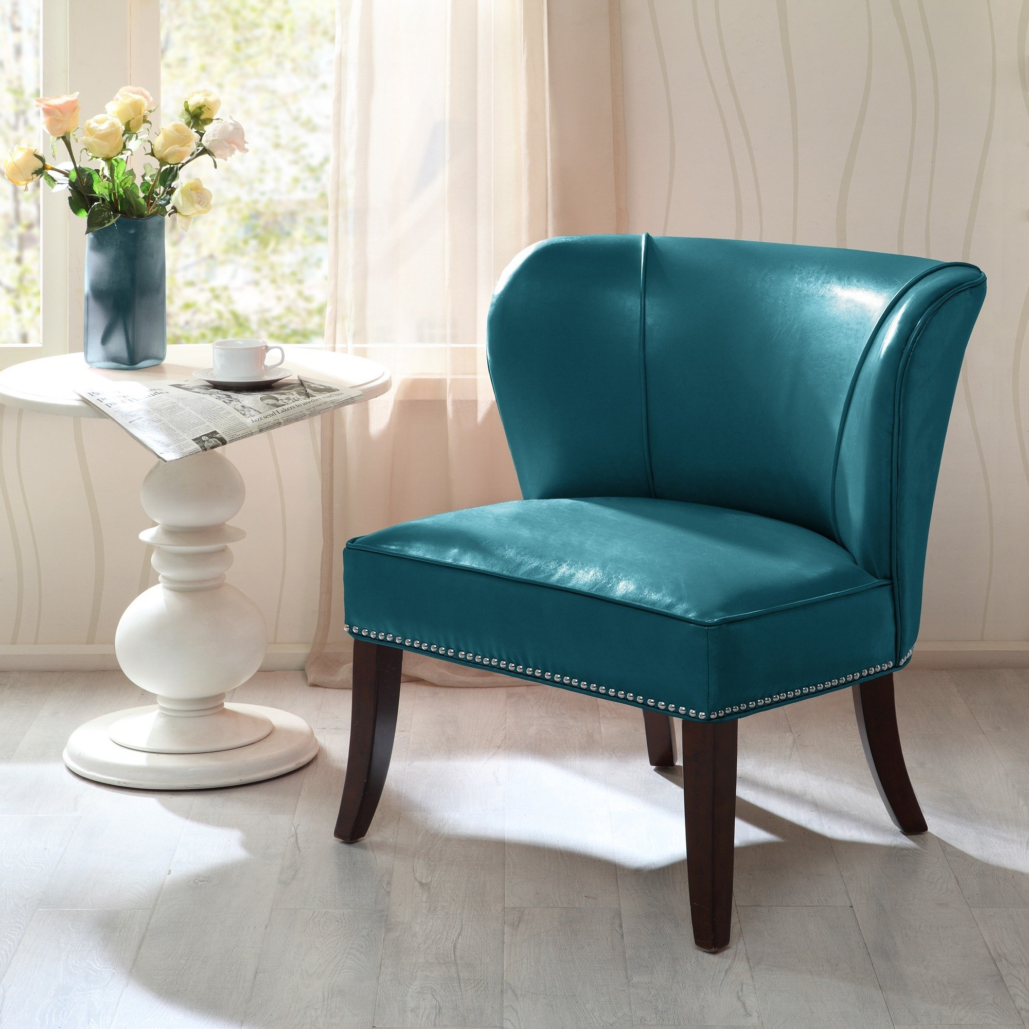 Shop Madison Park Sheldon Blue Concave Back Armless Chair – Free In Sheldon Oversized Sofa Chairs (View 7 of 25)