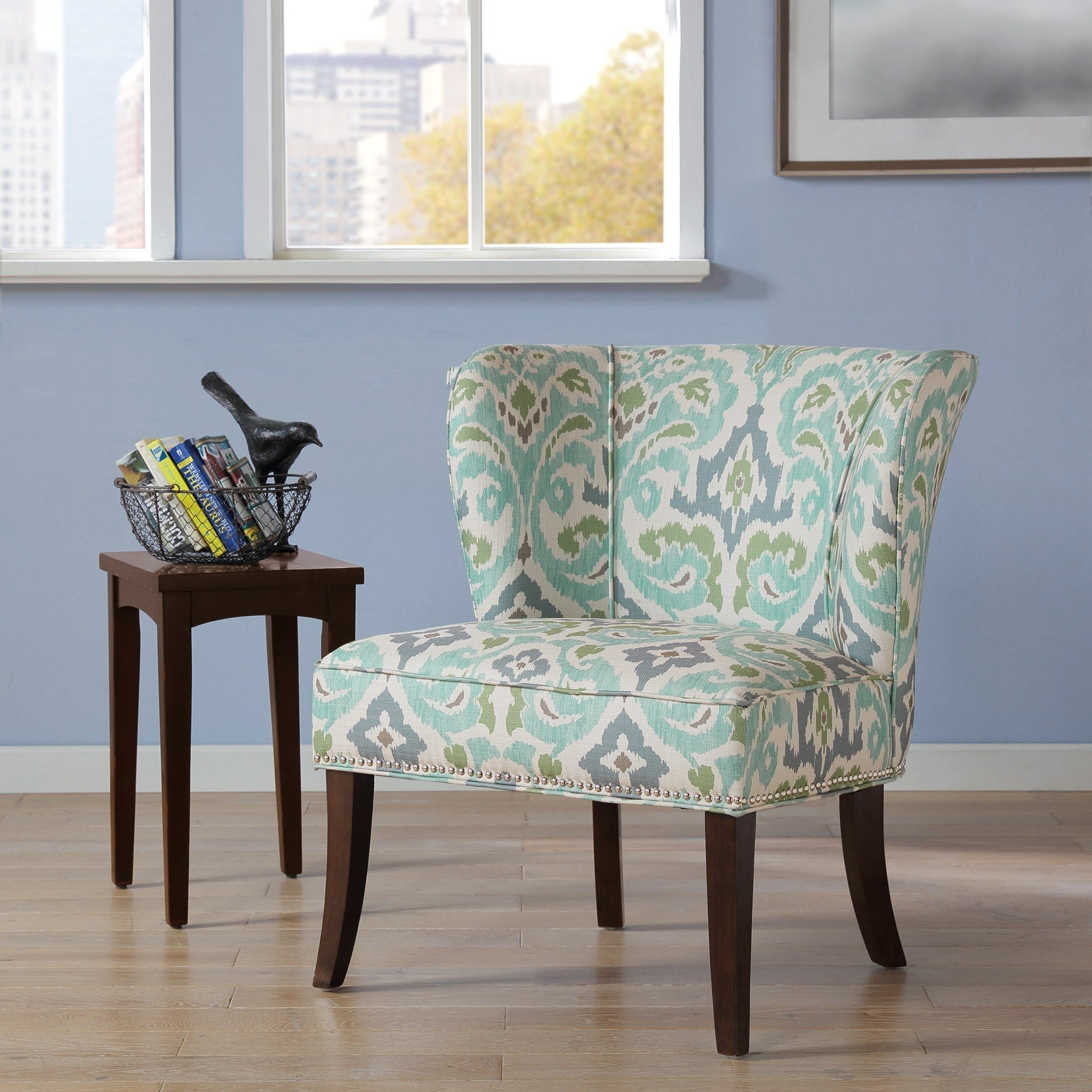 Shop Madison Park Sheldon Blue/ Green Printed Armless Accent Chair Within Sheldon Oversized Sofa Chairs (View 12 of 25)