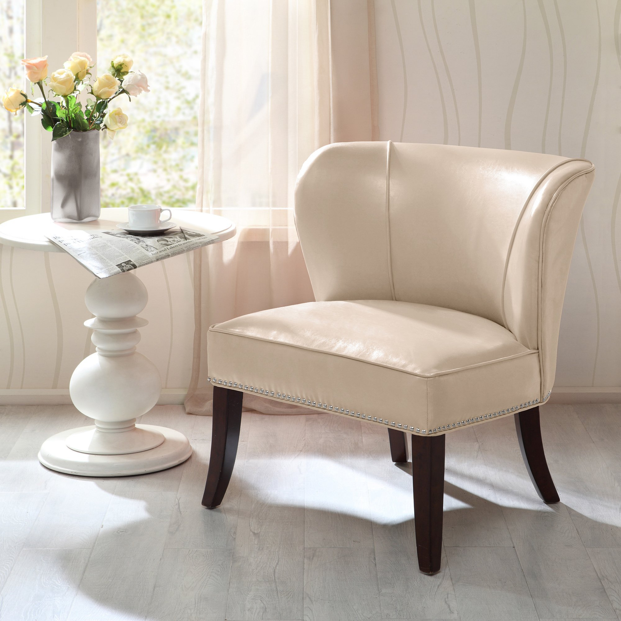 Shop Madison Park Sheldon Concave Back Armless Chair–Ivory – Free Inside Sheldon Oversized Sofa Chairs (View 15 of 25)