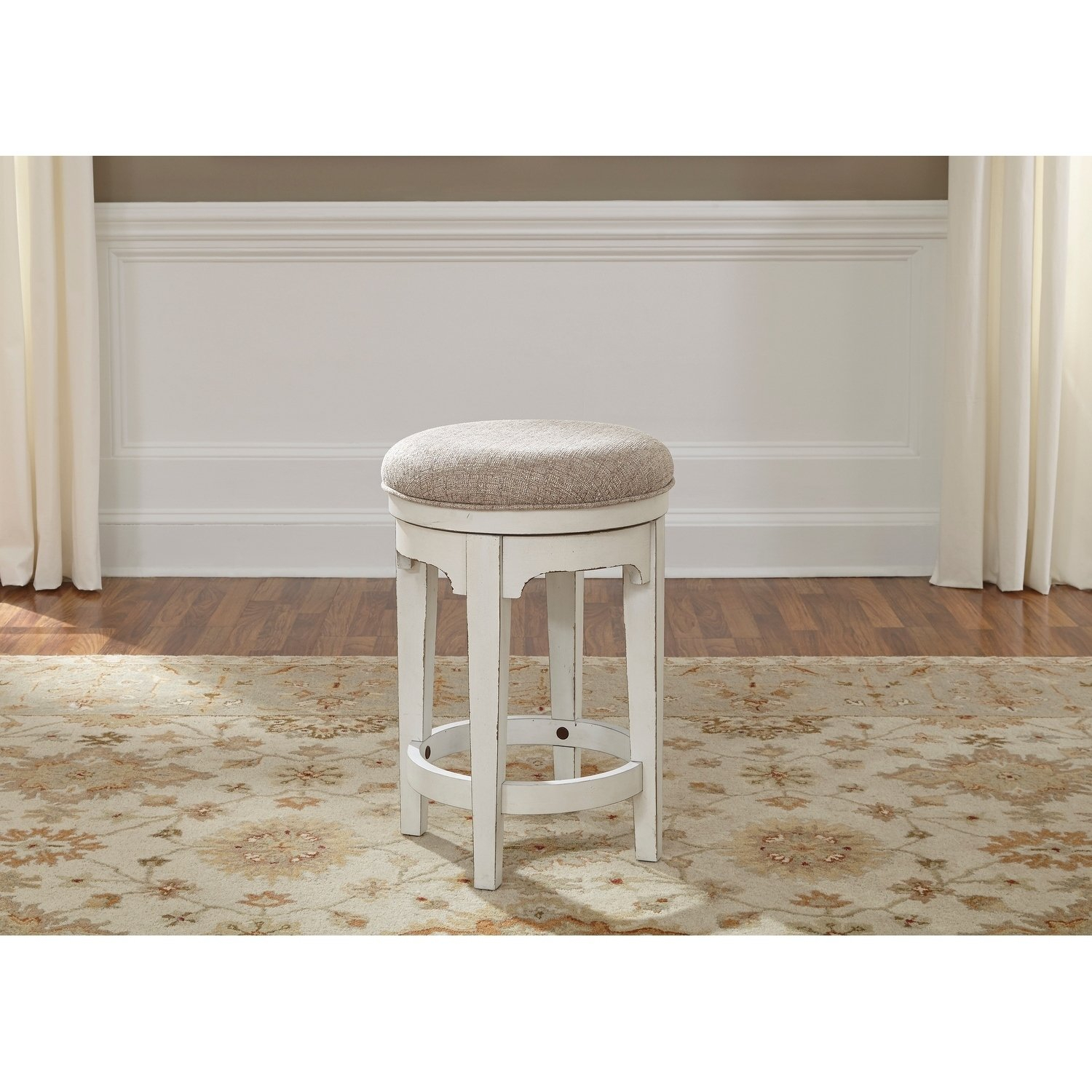 Shop Magnolia Manor Antique White Console Swivel Stool – Free Inside Manor Grey Swivel Chairs (Image 23 of 25)