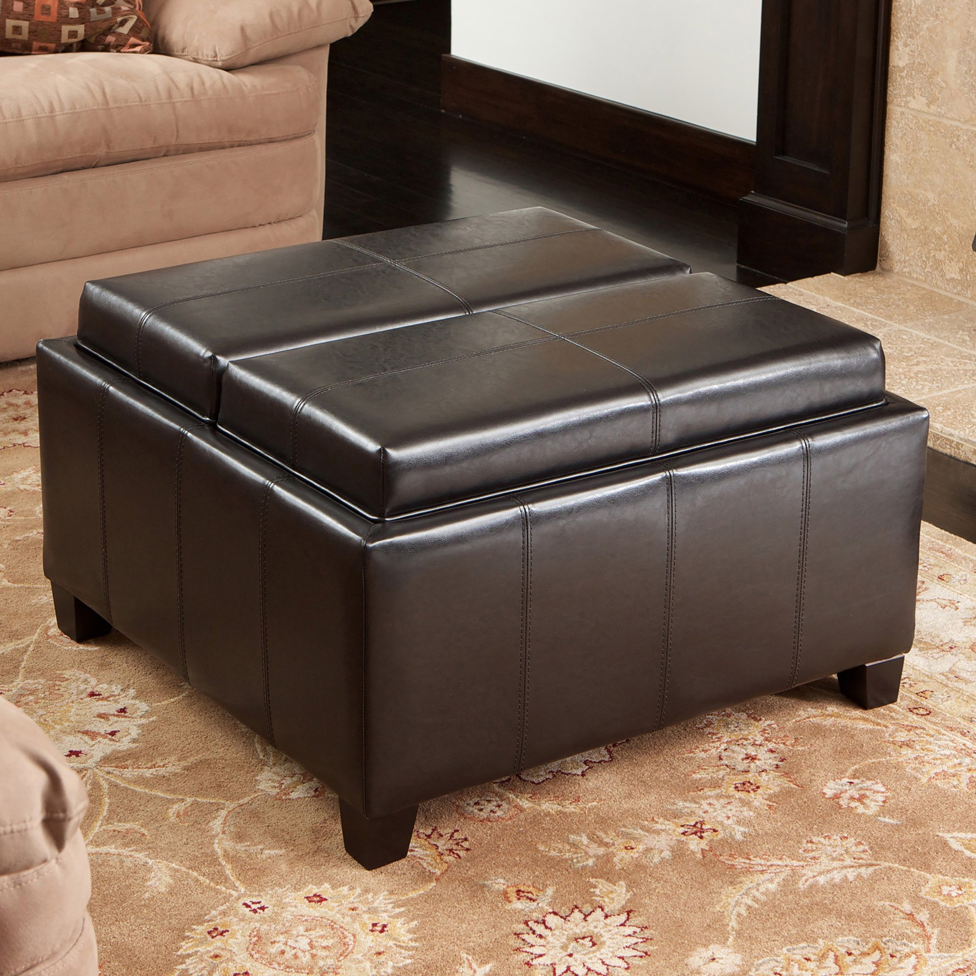 Shop Mansfield Bonded Leather Espresso Tray Top Storage Ottoman Inside Mansfield Cocoa Leather Sofa Chairs (View 9 of 25)