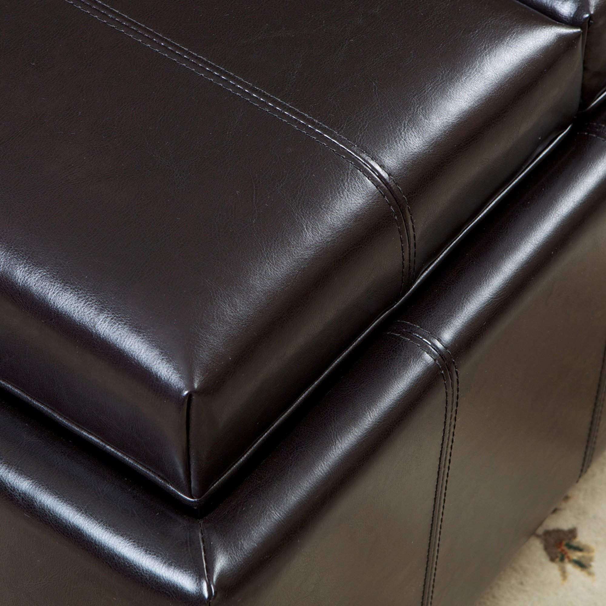 Shop Mansfield Bonded Leather Espresso Tray Top Storage Ottoman Regarding Mansfield Cocoa Leather Sofa Chairs (Image 21 of 25)