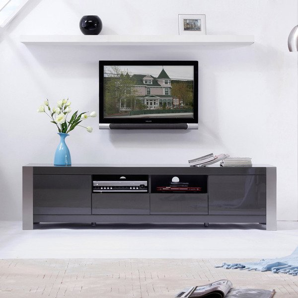 Shop 'maya' Grey High Gloss Stainless Steel Tv Stand – Free Shipping With Regard To Trendy High Gloss Tv Cabinets (View 19 of 25)