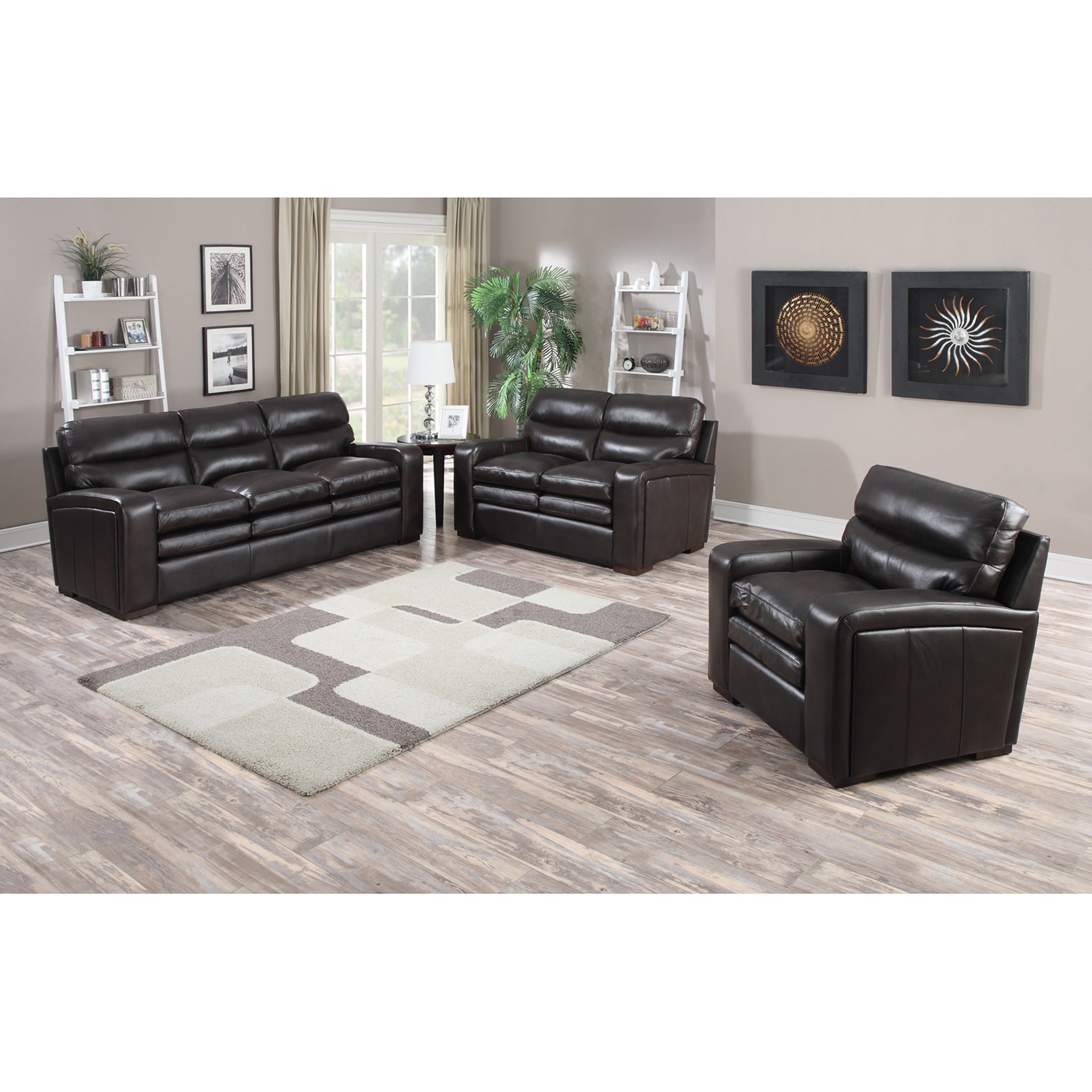 Shop Mercer Dark Brown Italian Leather Sofa, Loveseat And Chair Pertaining To Mercer Foam Oversized Sofa Chairs (Image 17 of 25)