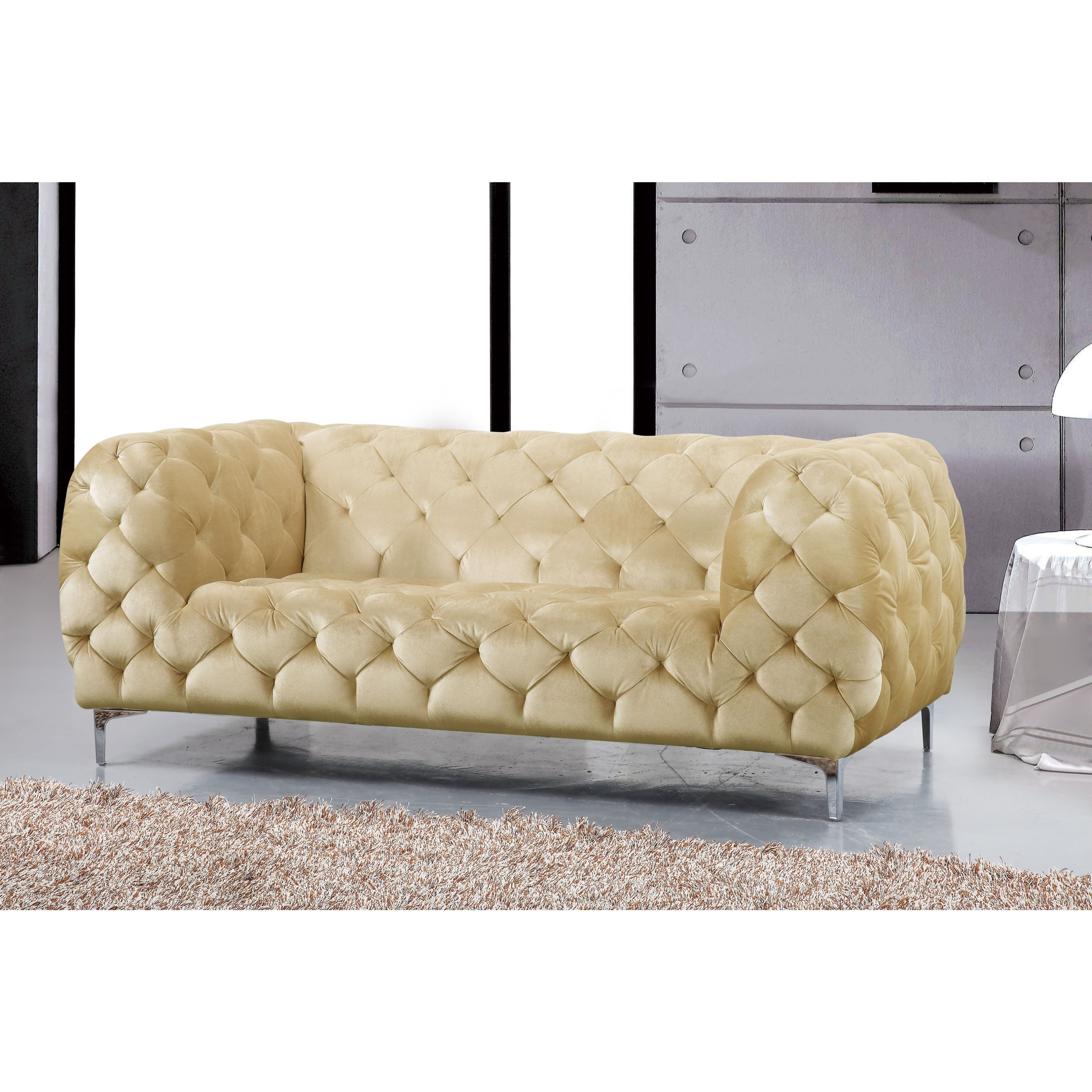 Shop Meridian Mercer Beige Velvet 4 Piece Furniture Set – Free With Regard To Mercer Foam Oversized Sofa Chairs (Image 18 of 25)