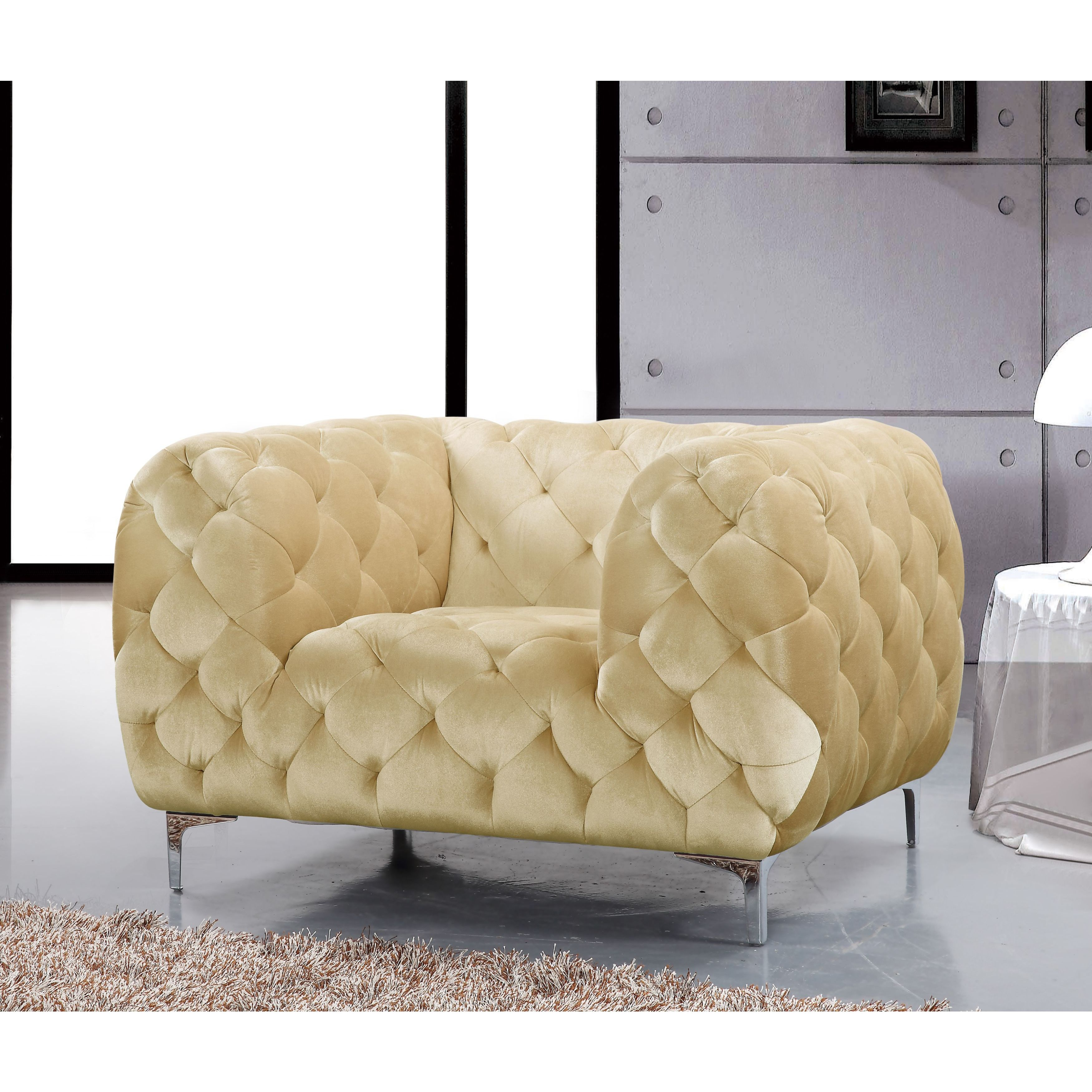 Shop Meridian Mercer Beige Velvet Tufted Chair – Free Shipping Today Intended For Mercer Foam Swivel Chairs (View 17 of 25)