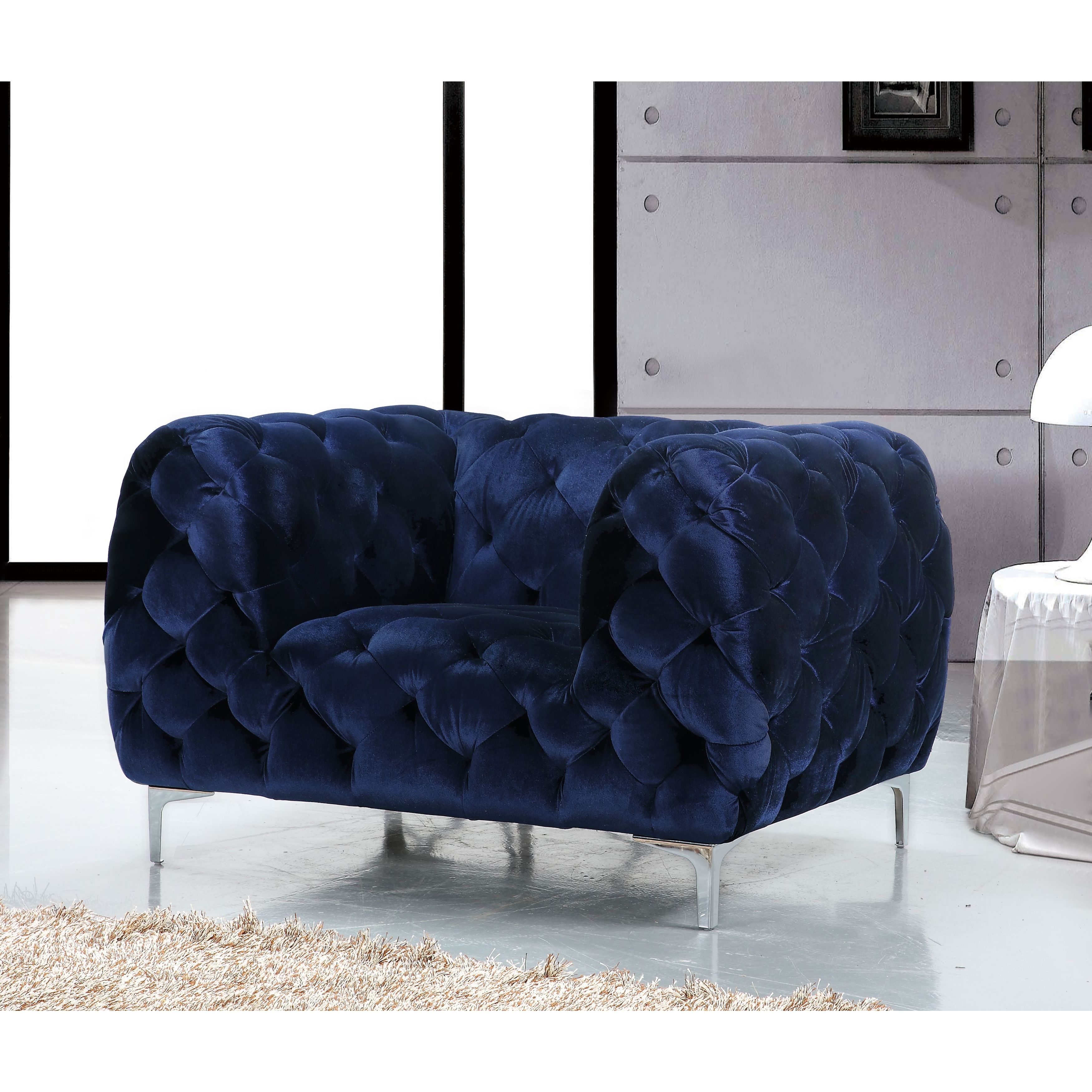 Shop Meridian Mercer Blue Velvet Tufted Chair – Free Shipping Today Pertaining To Mercer Foam Oversized Sofa Chairs (Image 20 of 25)