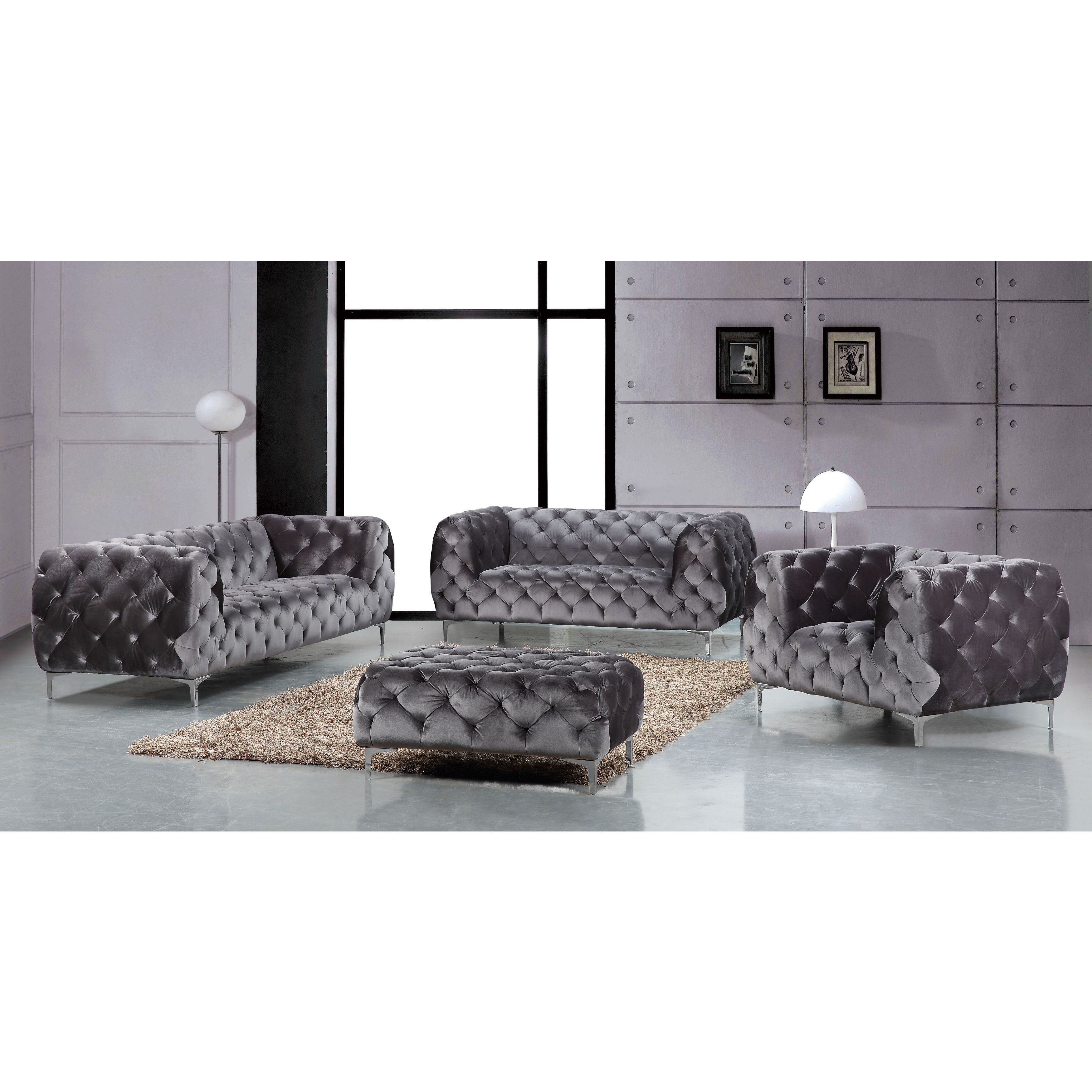 Shop Meridian Mercer Grey Velvet 4 Piece Furniture Set – Free With Regard To Mercer Foam Oversized Sofa Chairs (View 14 of 25)