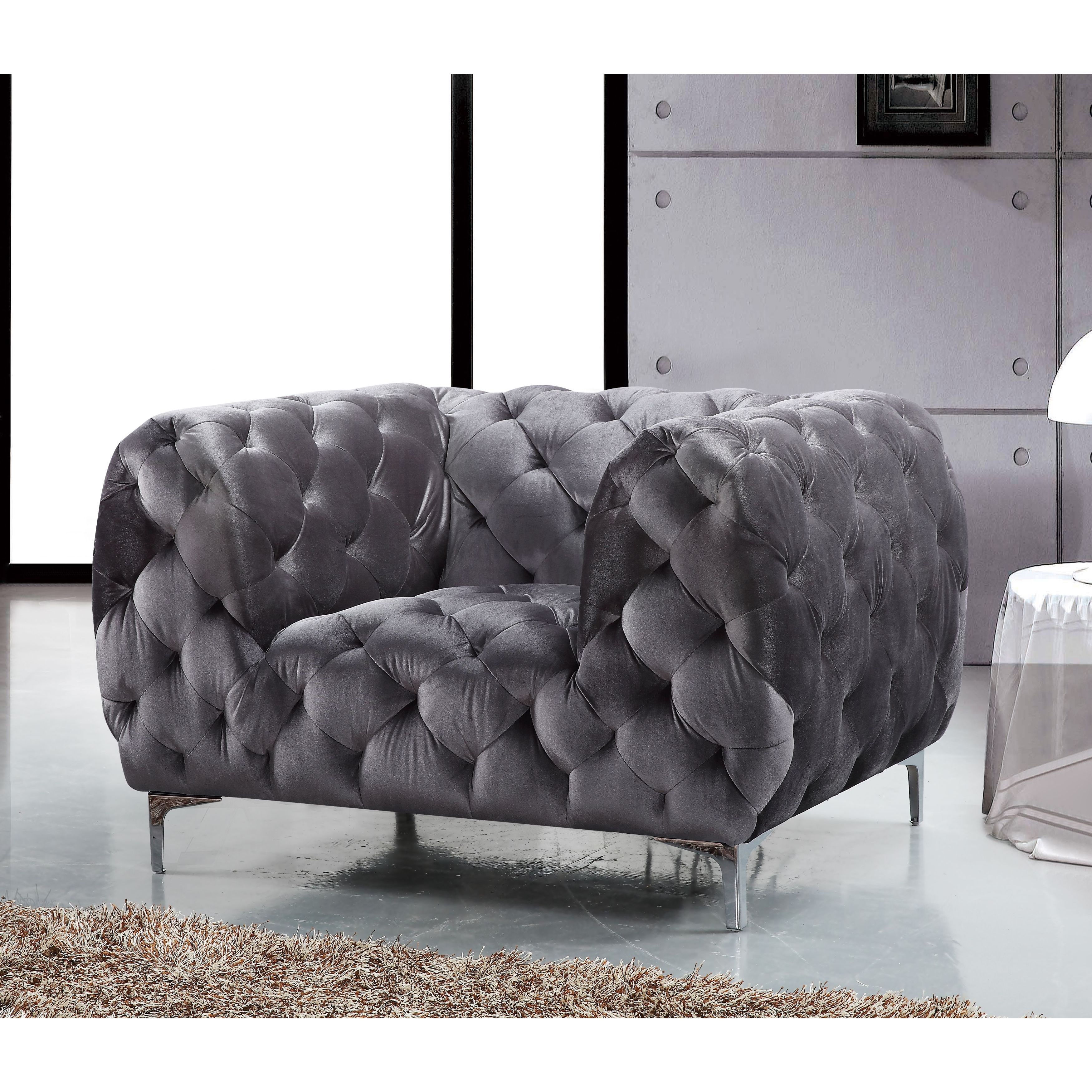 Shop Meridian Mercer Grey Velvet Chair – Free Shipping Today With Regard To Mercer Foam Oversized Sofa Chairs (Image 22 of 25)
