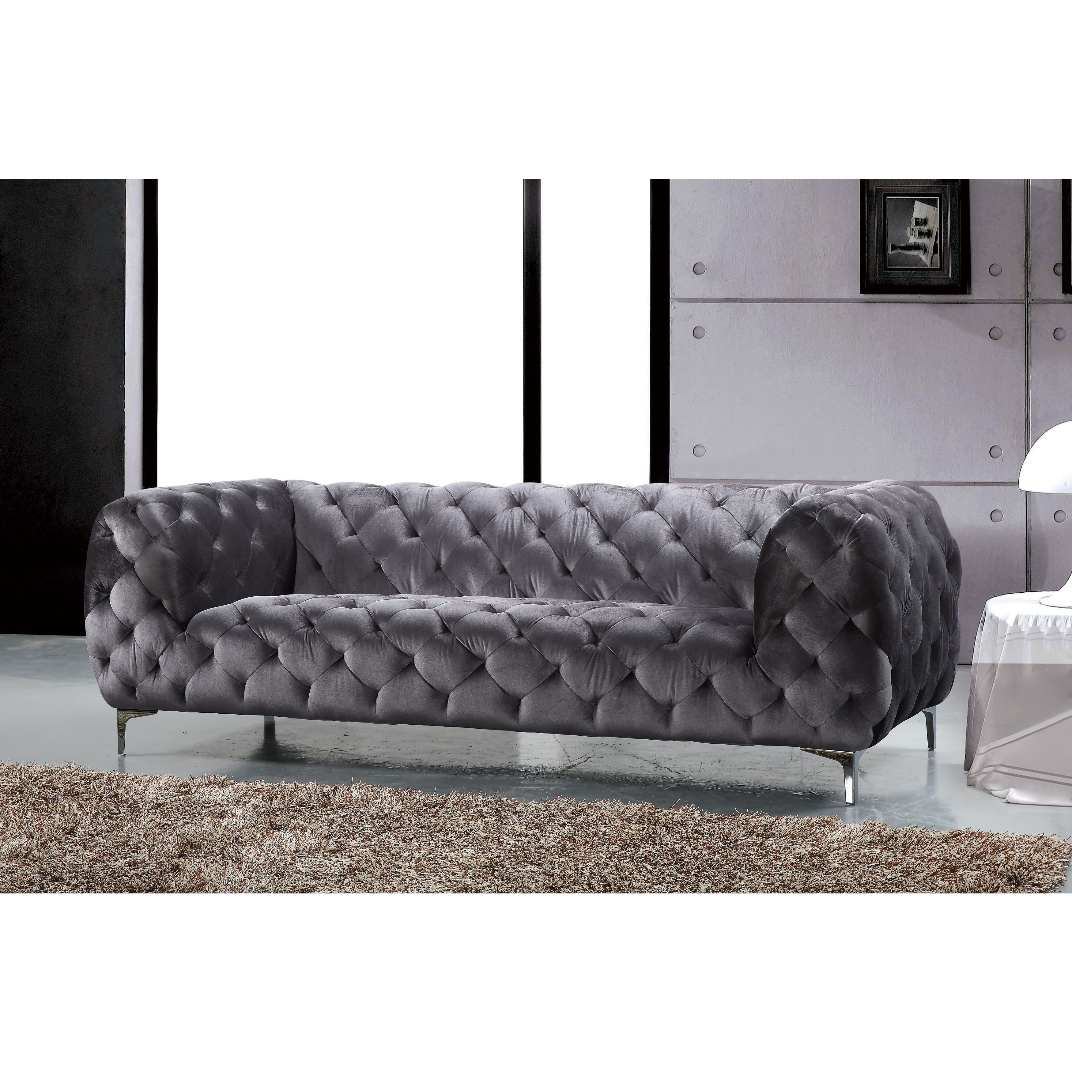 Shop Meridian Mercer Grey Velvet Sofa – Free Shipping Today Within Mercer Foam Oversized Sofa Chairs (Image 23 of 25)