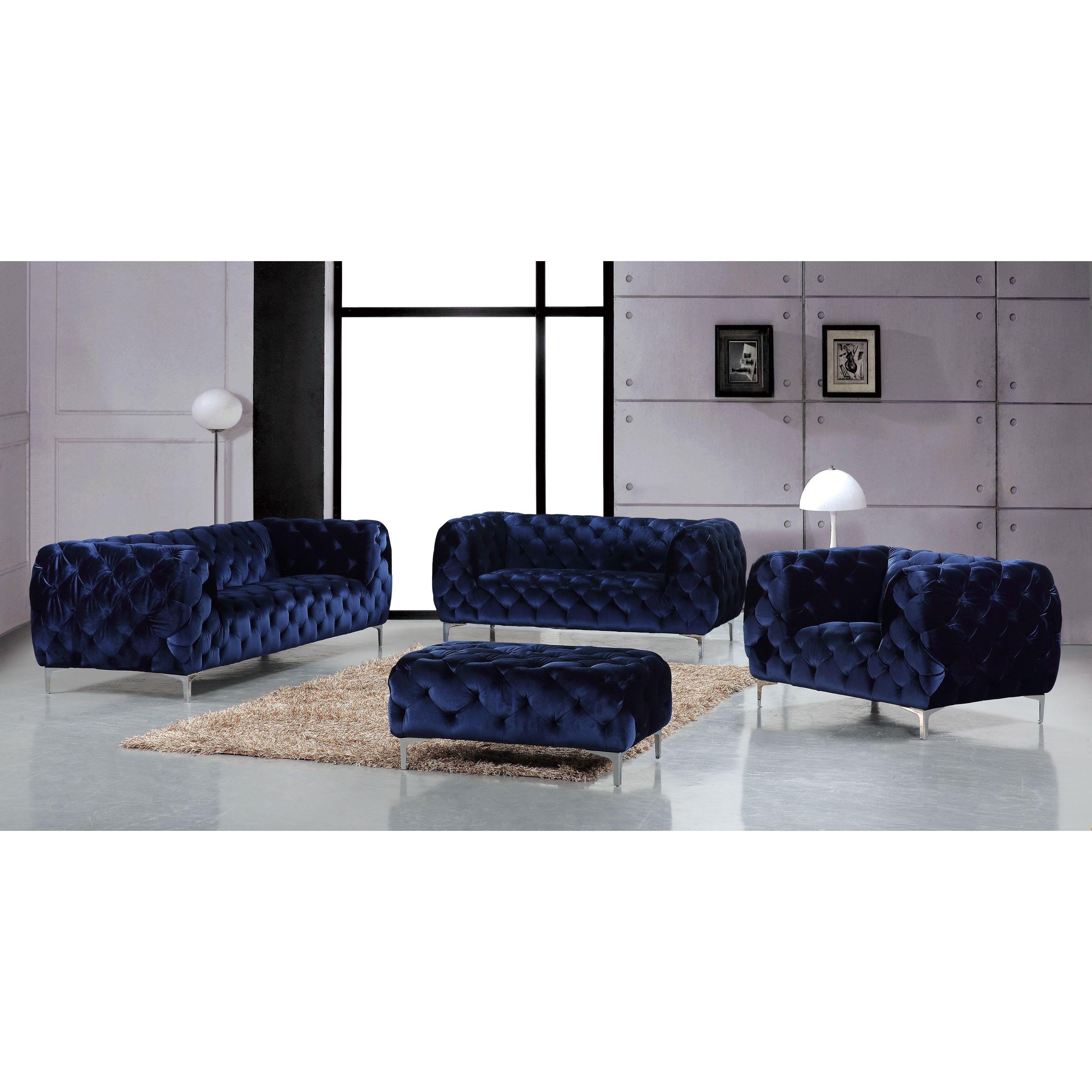 Shop Meridian Mercer Navy Velvet 4 Piece Furniture Set – Free Regarding Mercer Foam Oversized Sofa Chairs (Image 24 of 25)