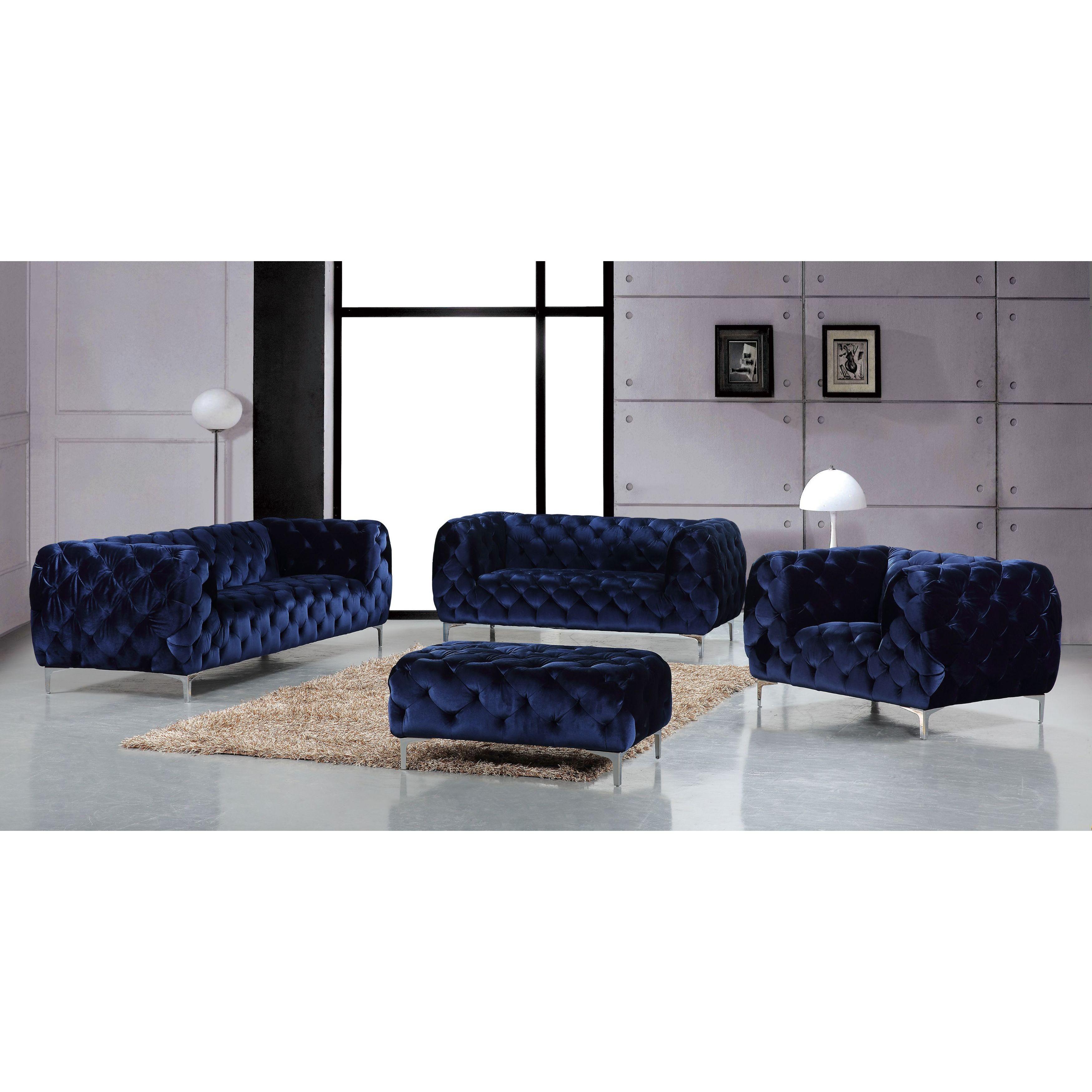 Shop Meridian Mercer Navy Velvet 4 Piece Furniture Set – Free Regarding Mercer Foam Oversized Sofa Chairs (View 22 of 25)
