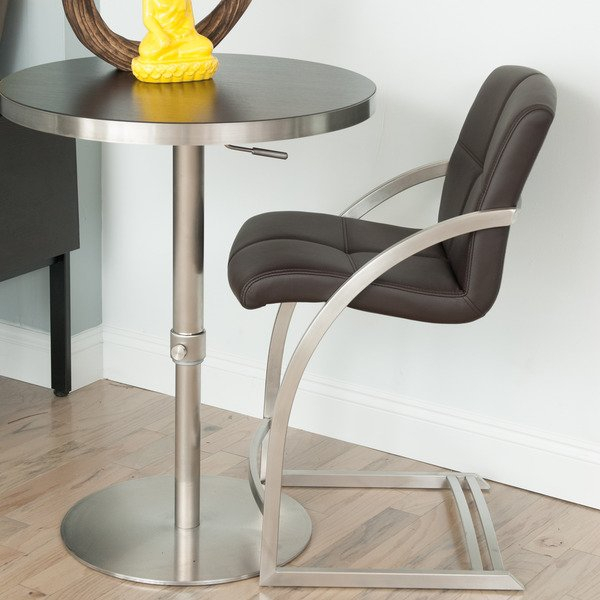Shop Mix Brushed Stainless Steel 26 Inch Counter Height Stationary Intended For Widely Used Mix Leather Imprint Metal Frame Console Tables (Image 23 of 25)